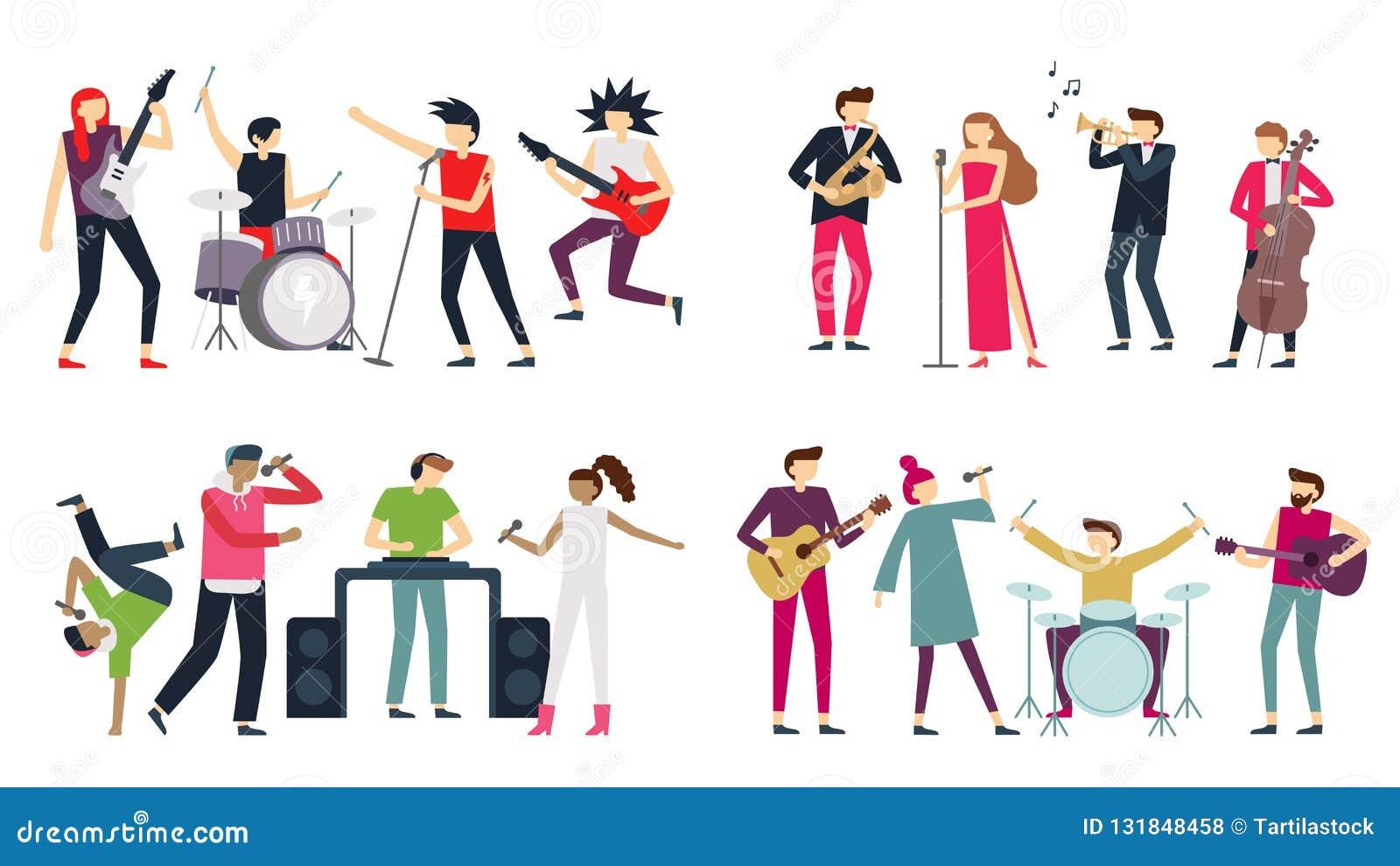 Venda de la música Azules del jazz, punk rock y bandas de estallido del indie El guitarrista del metal, el batería y el cantante