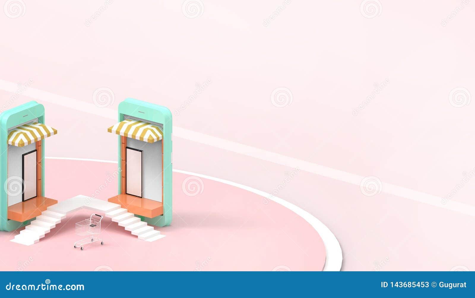 Vendas de compra em linha no Web site ou na aplicação móvel e Digitas que introduzem no mercado o fundo cor-de-rosa pastel mínimo