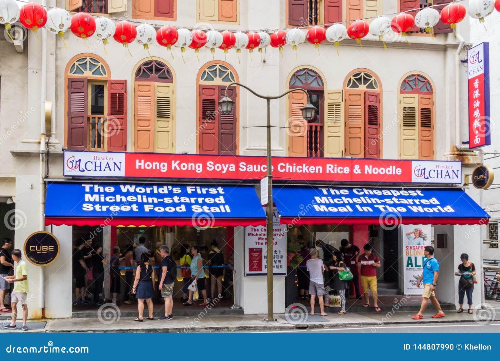 Vendedor ambulante Chan um restaurante de Michelin da estrela