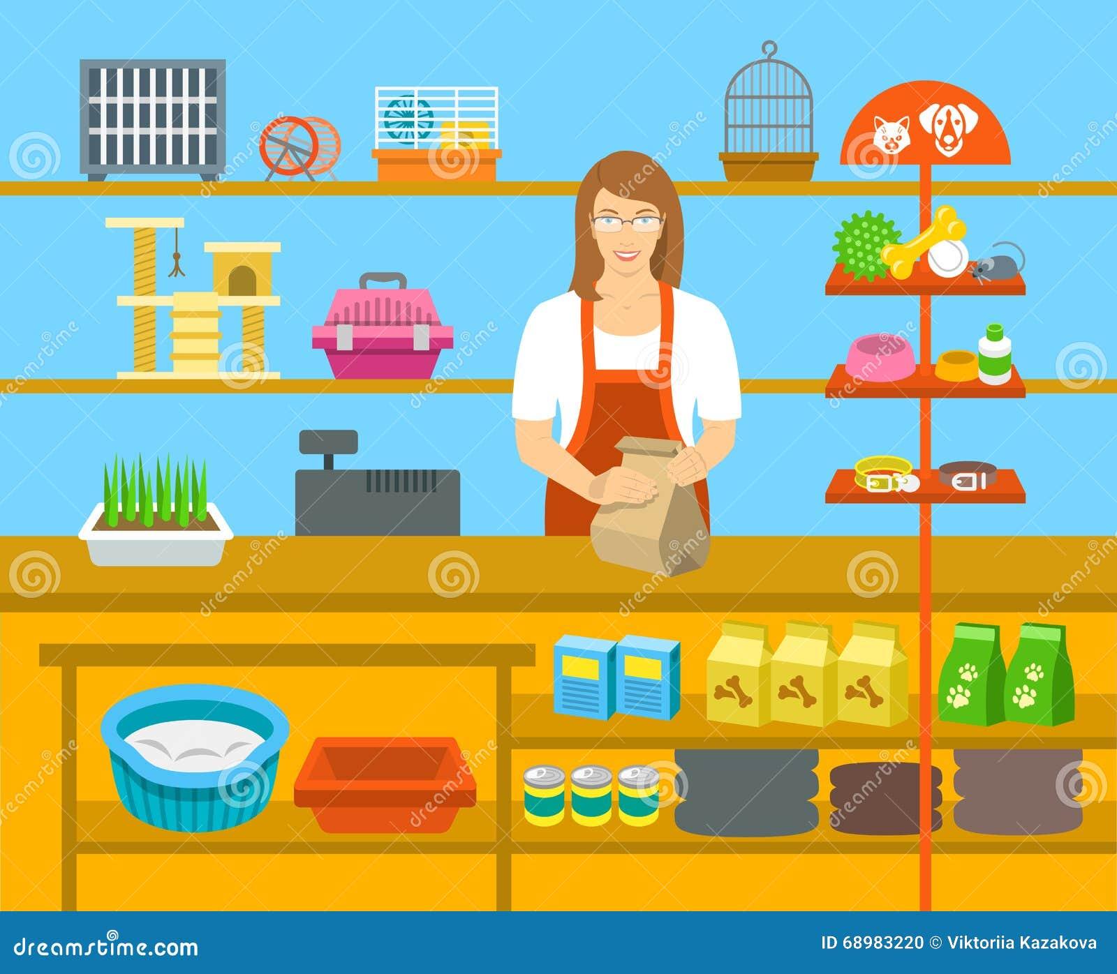 Vendedor de la tienda de animales en el contador en el ejemplo plano de la tienda