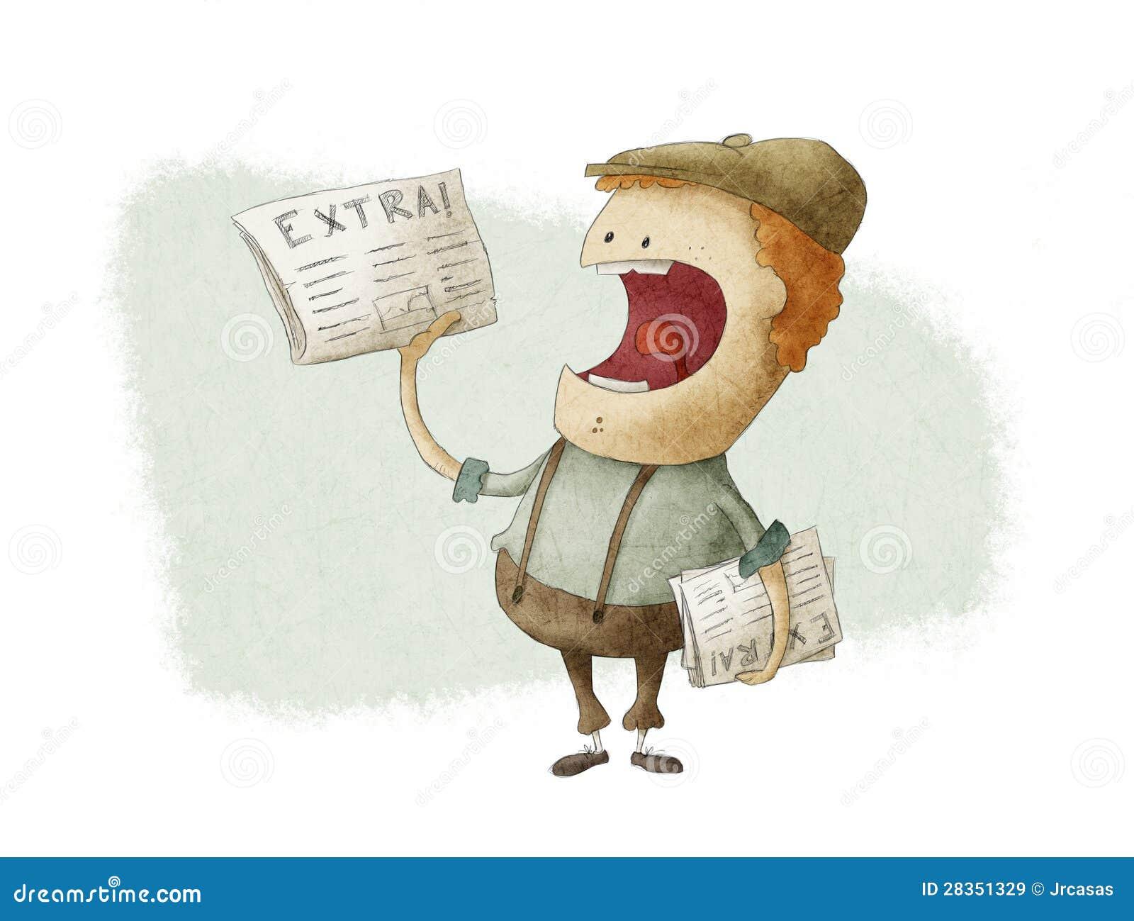 Vendedor de periódicos retro que vende los periódicos