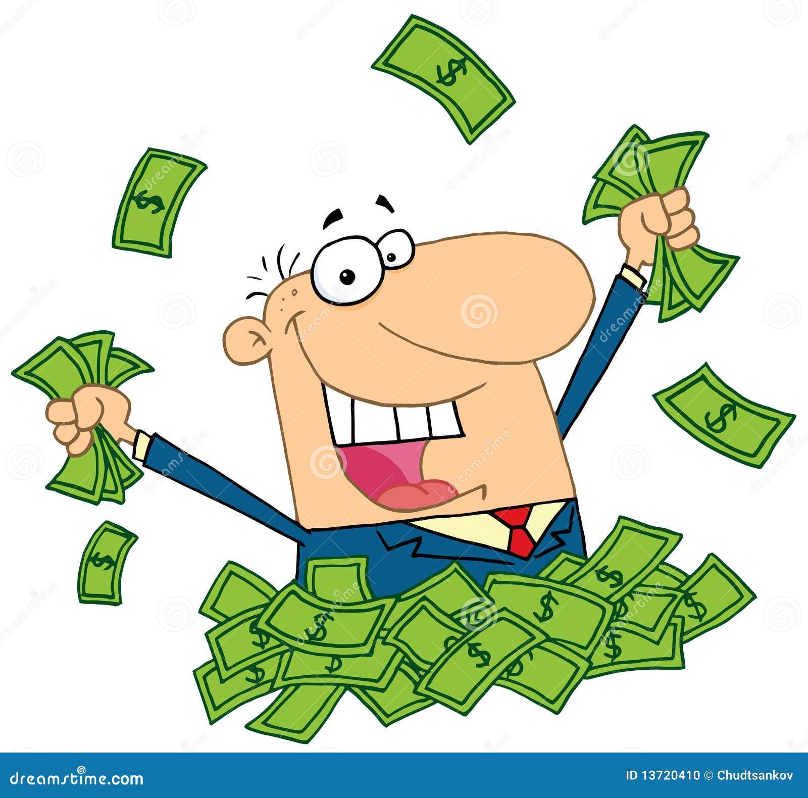 Vendedor que juega en una pila de dinero