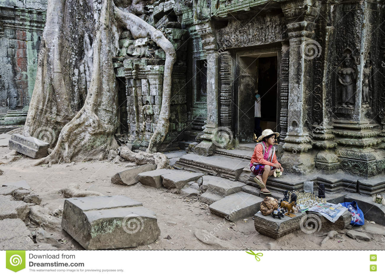 Vendeur de stalle de bibelot de souvenir dans le cambod célèbre de temple d Angkor Vat