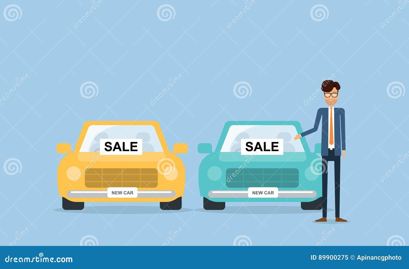 Vendeur Et Gens D Affaires De Voiture Avec Le Personnage De Dessin