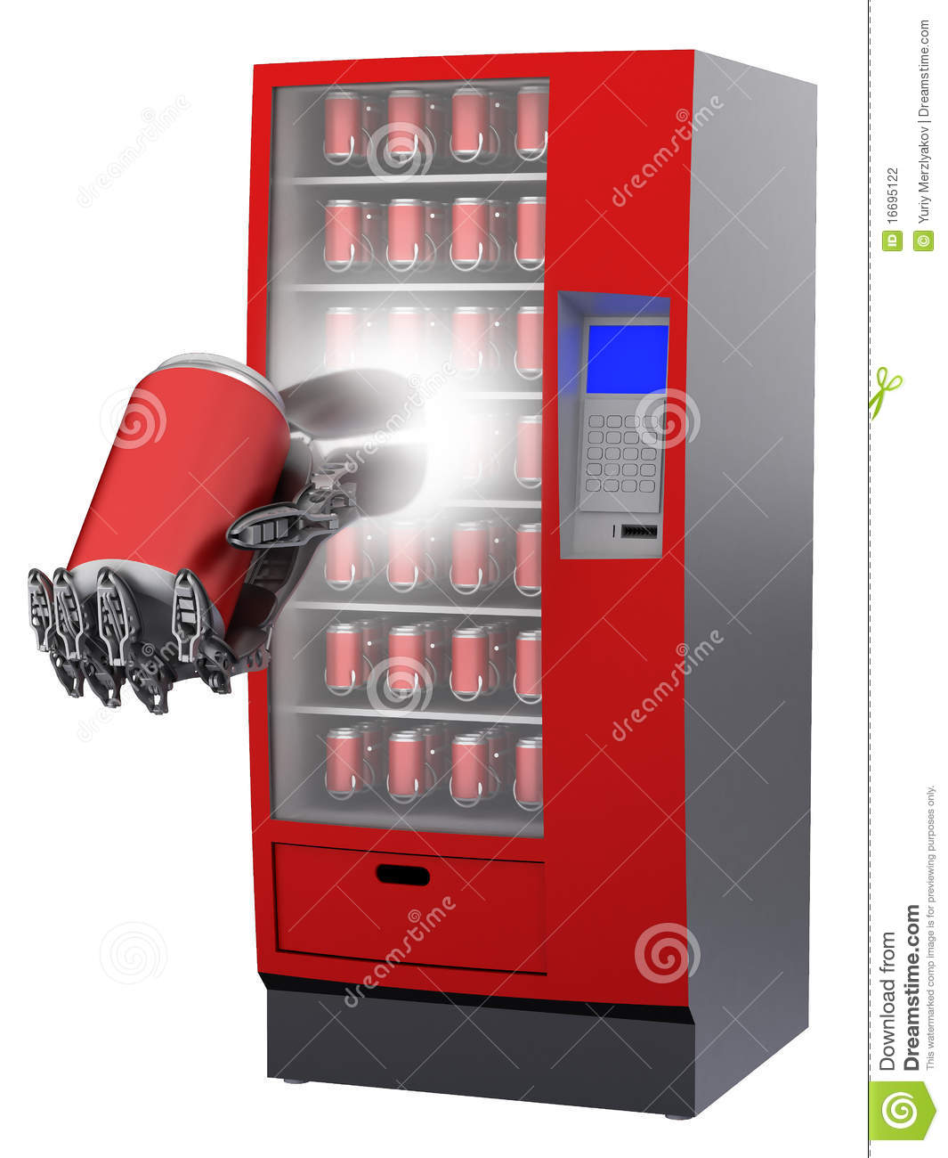 Coin Operated Juicer ~ Vending machine with cyborg hand and beverage in c stock