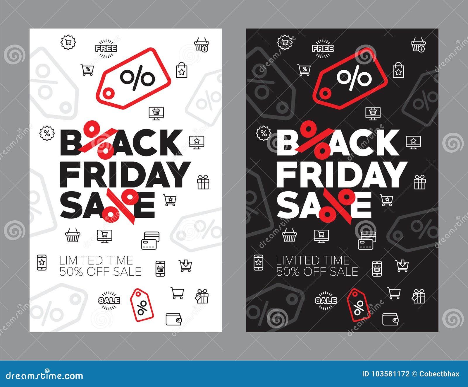 Vendita di autunno illustrazione di vettore di cinquanta per cento Sconti nel nero venerdì del deposito