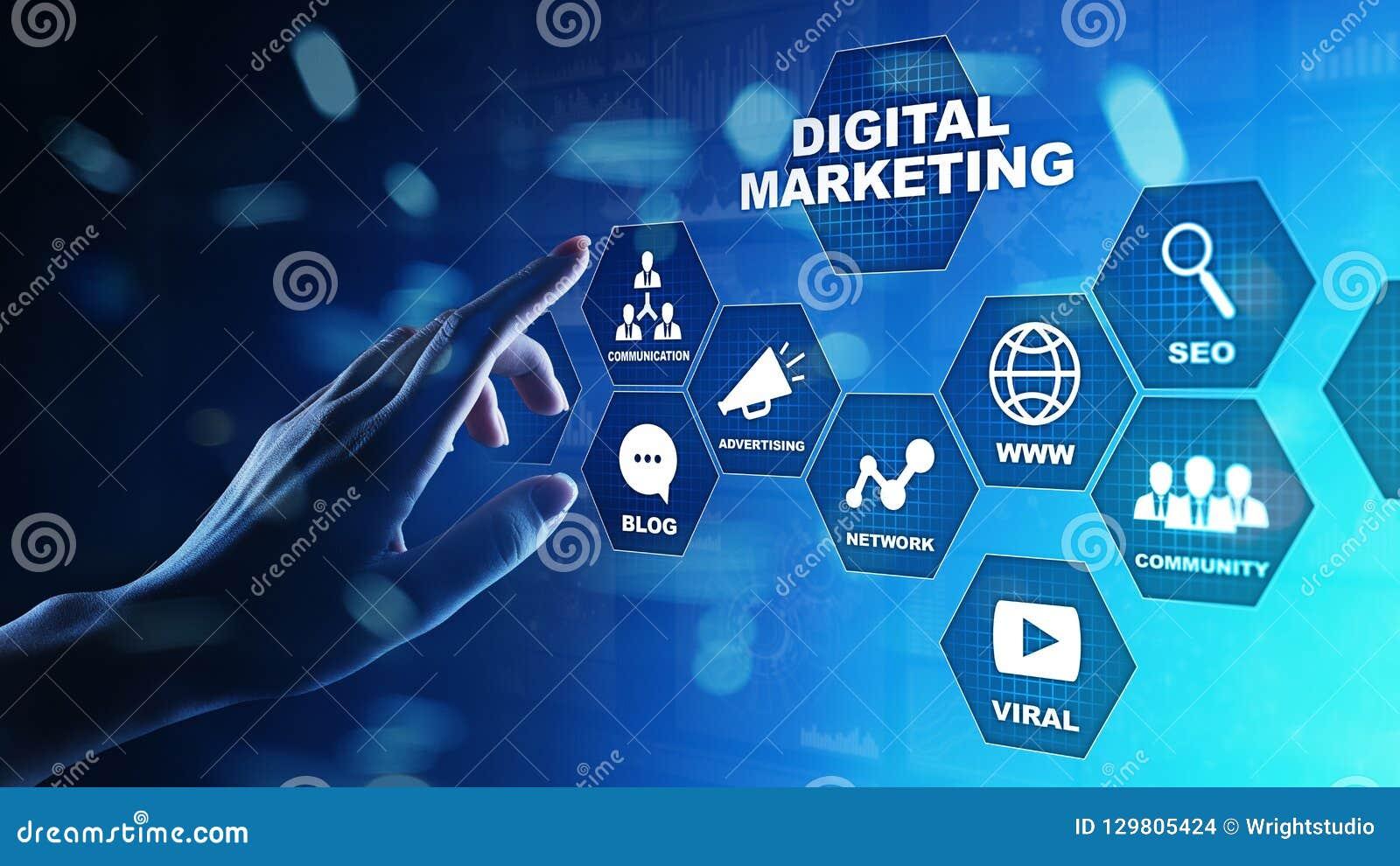 Vendita di Digital, pubblicità on line, SEO, SEM, SMM Concetto di Internet e di affari