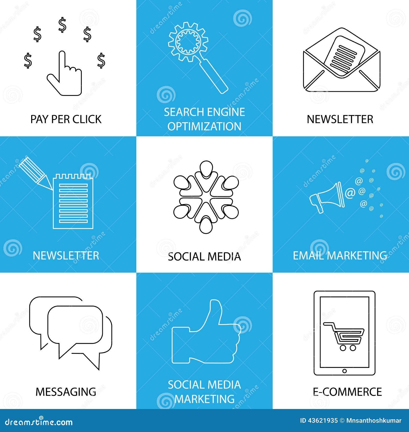 Vendita, media sociali, seo & commercio elettronico - icone di vettore di concetto