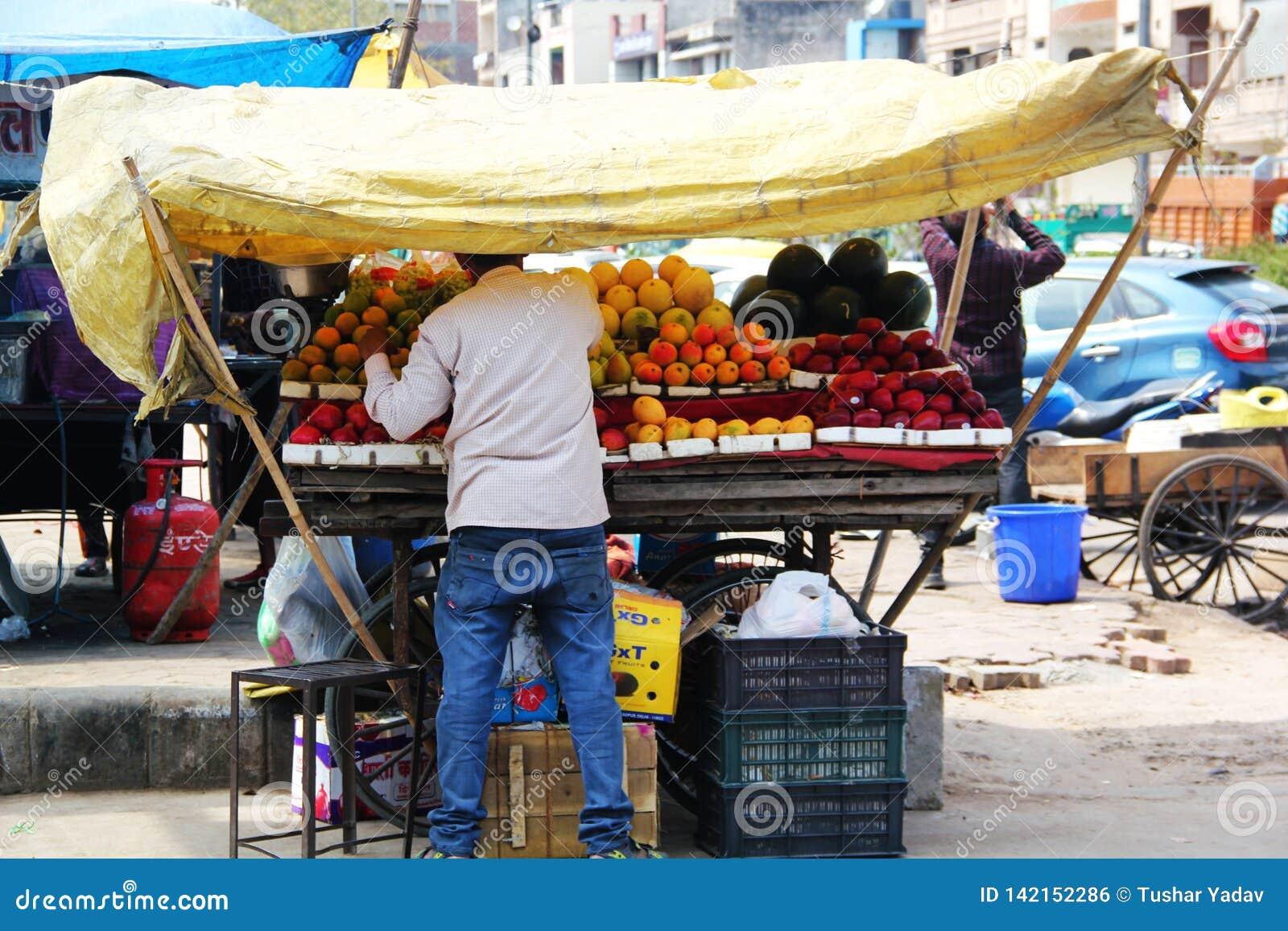 Venditore della frutta della via con i vari frutti a Delhi