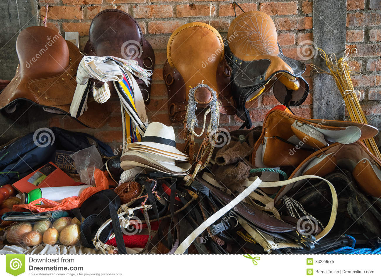 Vendor selling saddles in Colombia