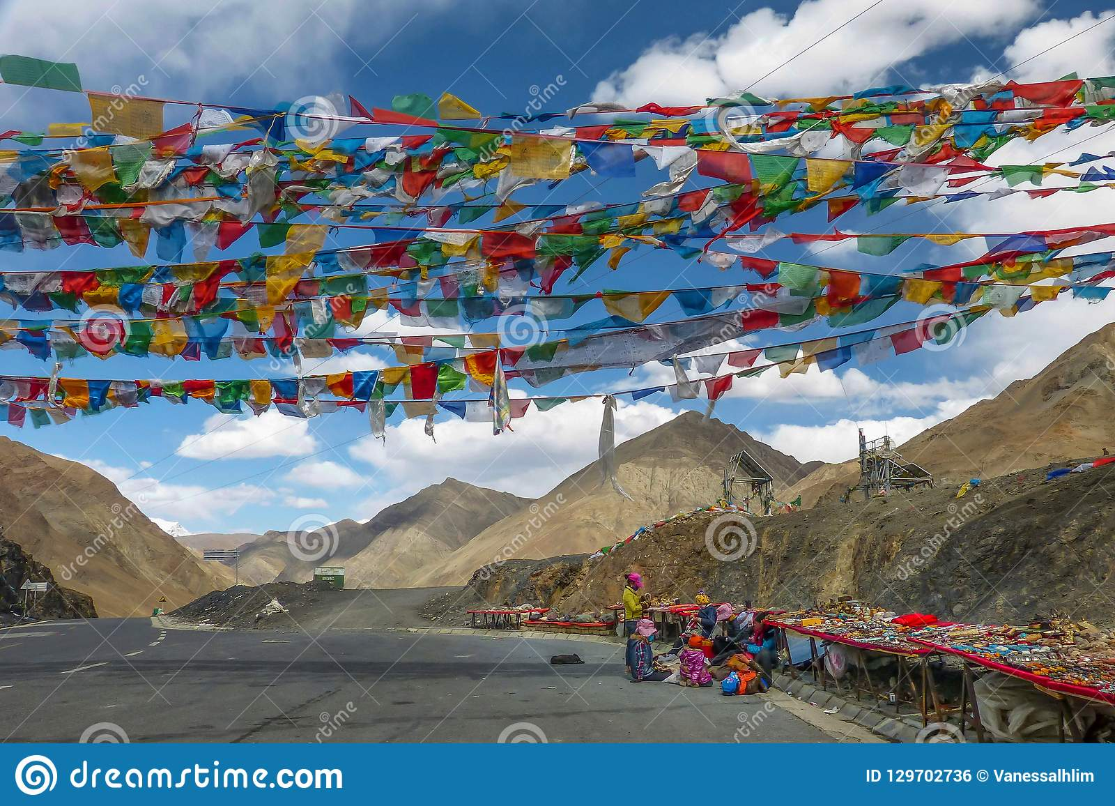 Vendor selling Tibetan stones, beads and souvenirs along the Kampala Pass in Tibet Autonomous Region