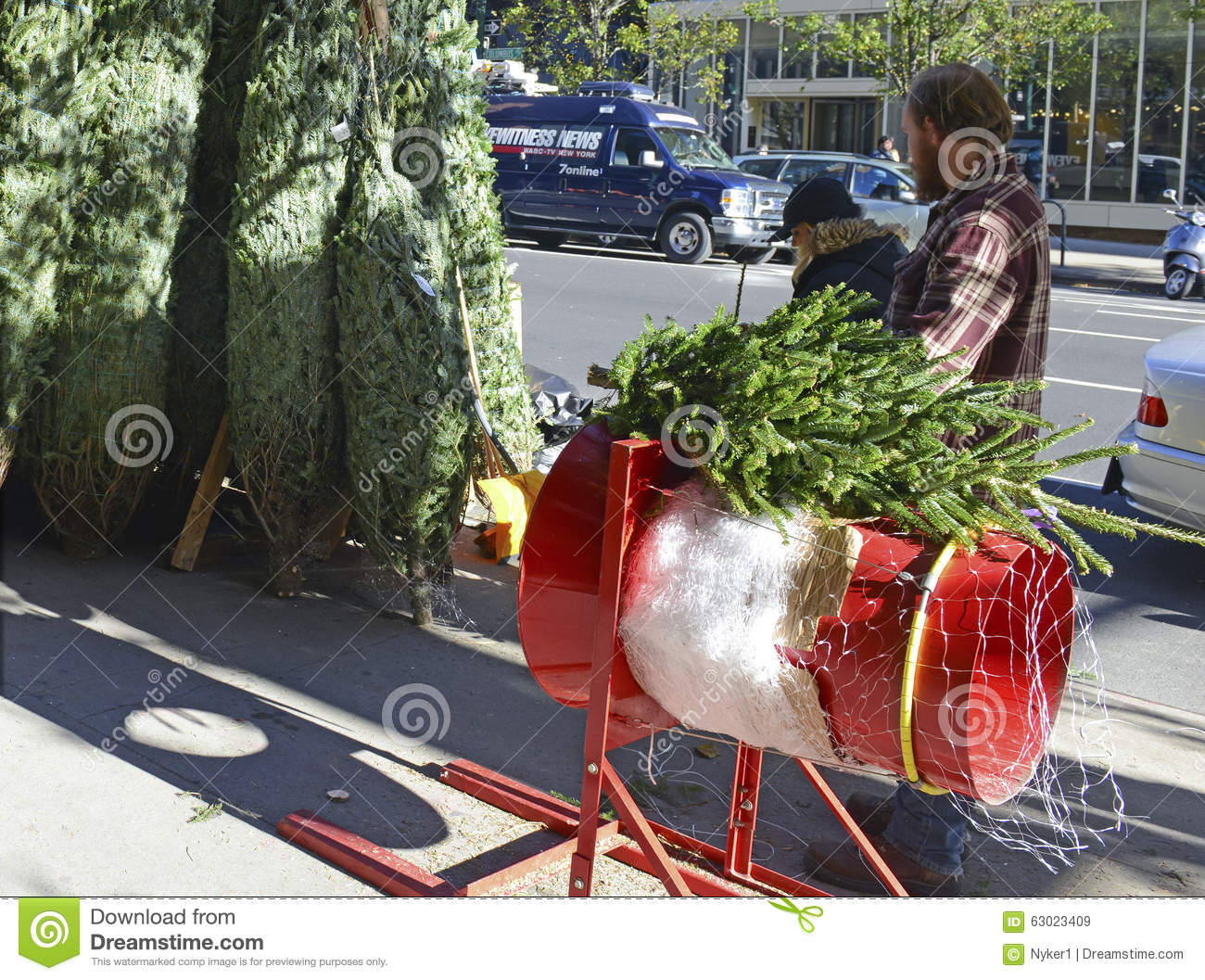 Vendors Selling Christmas Trees On The Streets Of