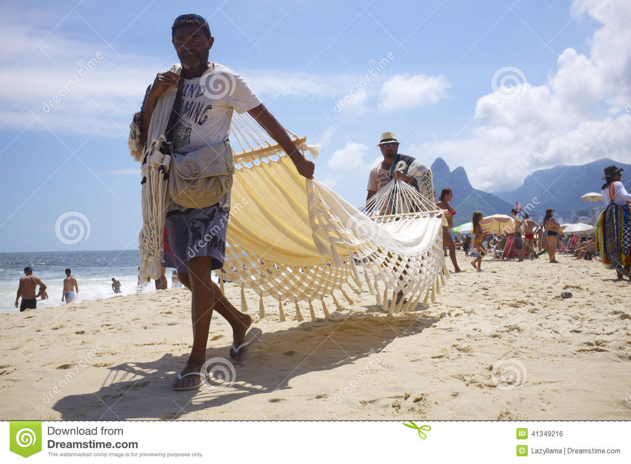 Vendors And Sunbathers On Ipanema Beach Rio Editorial