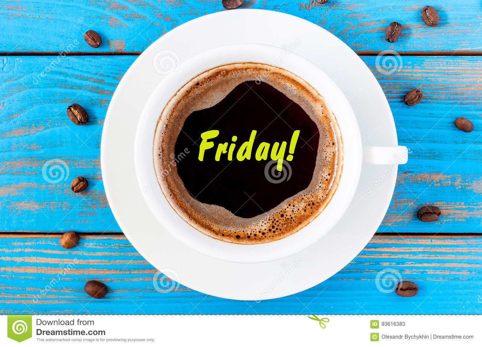 Vendredi - texte sur la tasse de café vue supérieure de matin Fin de la semaine Fond en bois bleu