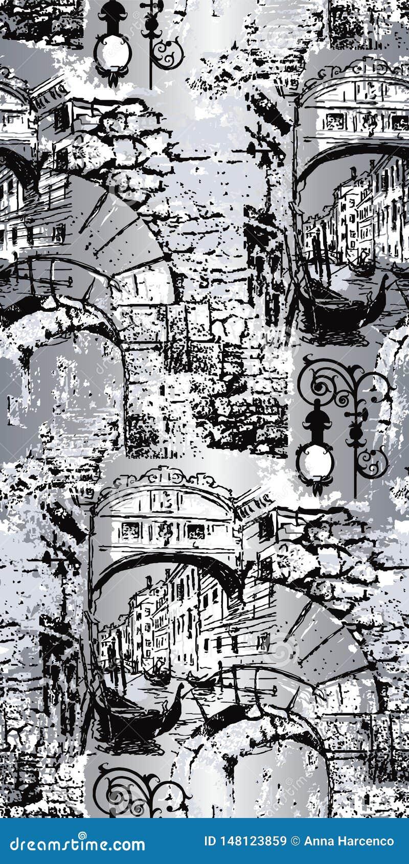 Veneciaillustratie Vector kunstwerk Naadloos patroon