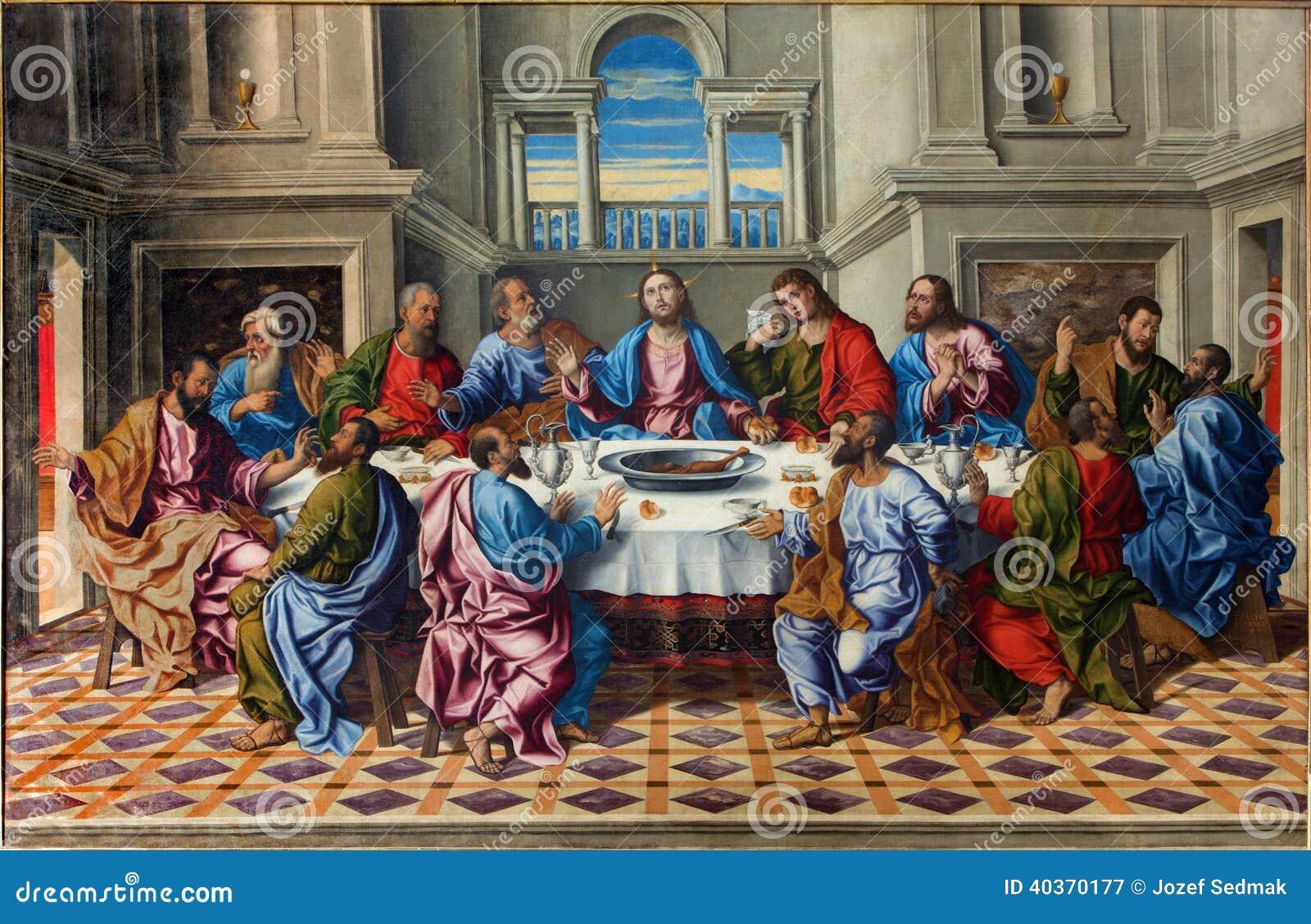 Venedig - den sista kvällsmålet av den KristusUltima cenaen av Girolamo da Santacroce (1490 - 1556)