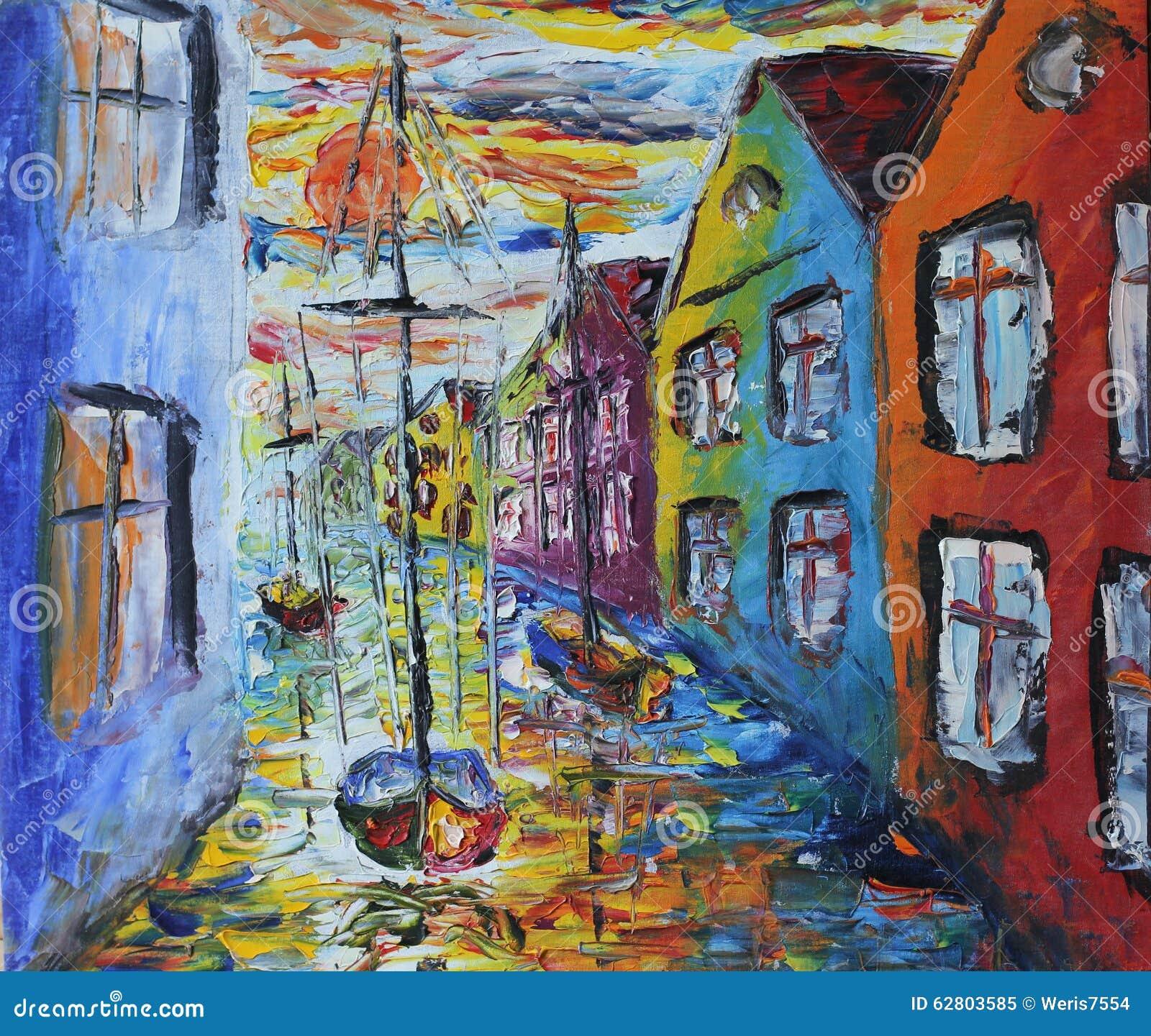Venedig fartyg som svävar i gatorna, olje- målning