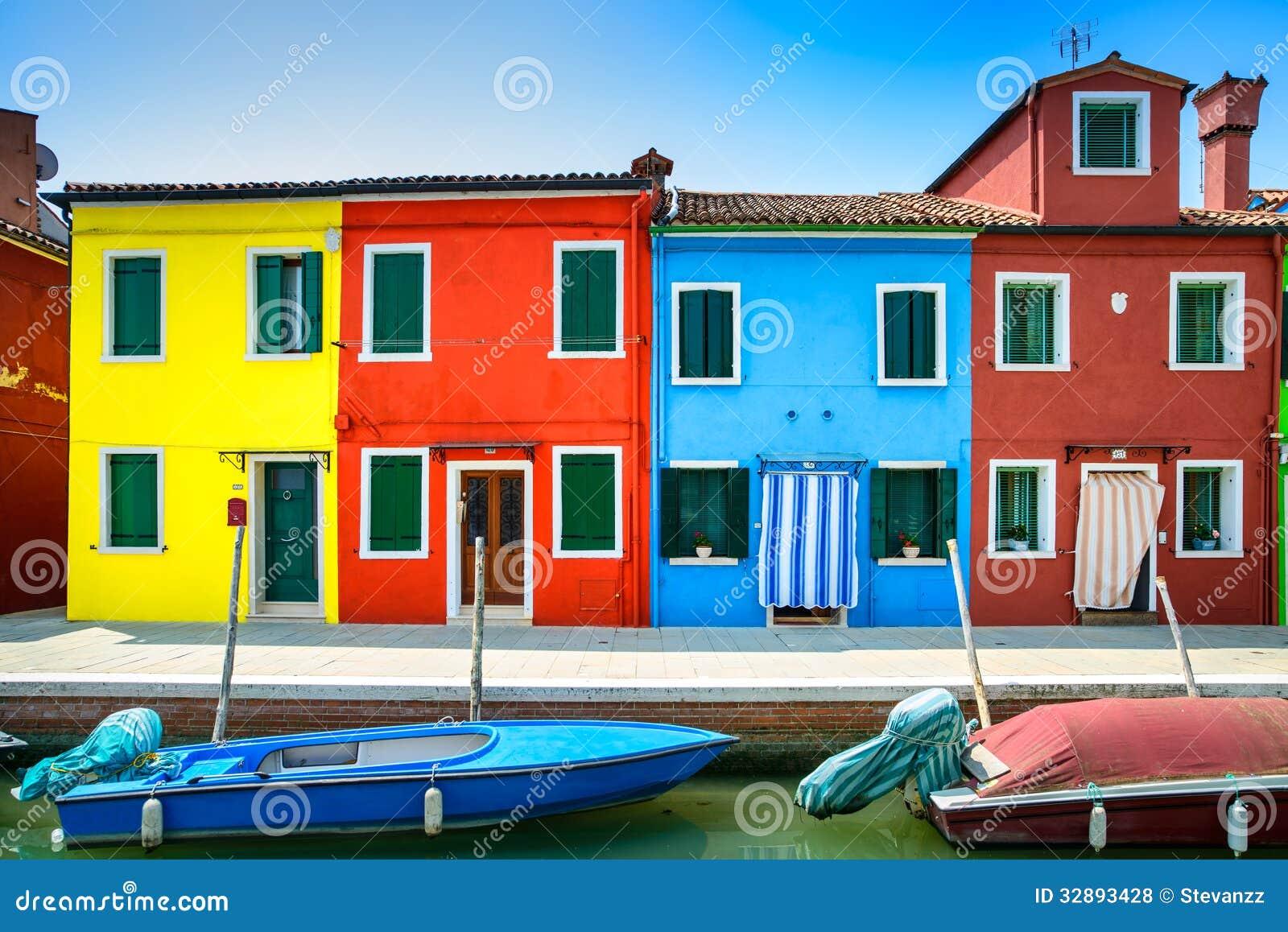Häuser Italien venedig markstein burano inselkanal bunte häuser und boote