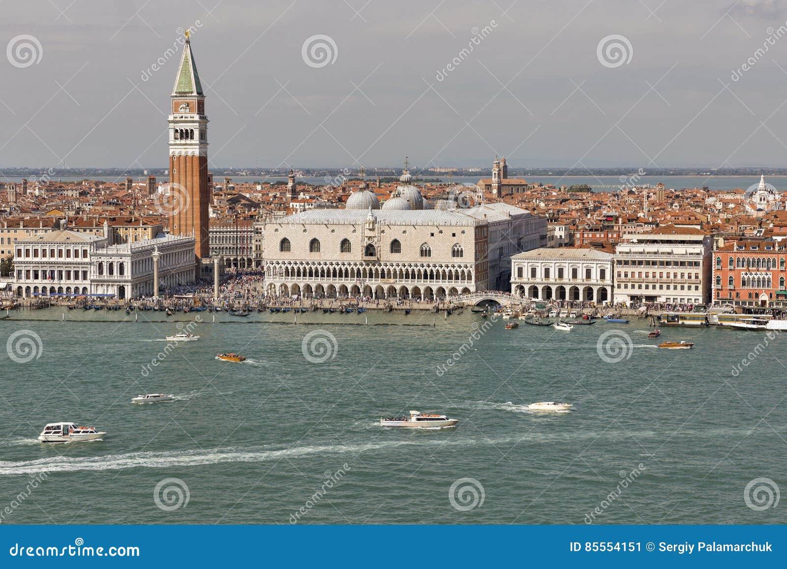 Venedig-Stadtbild, Vogelperspektive fron Lagune Italien