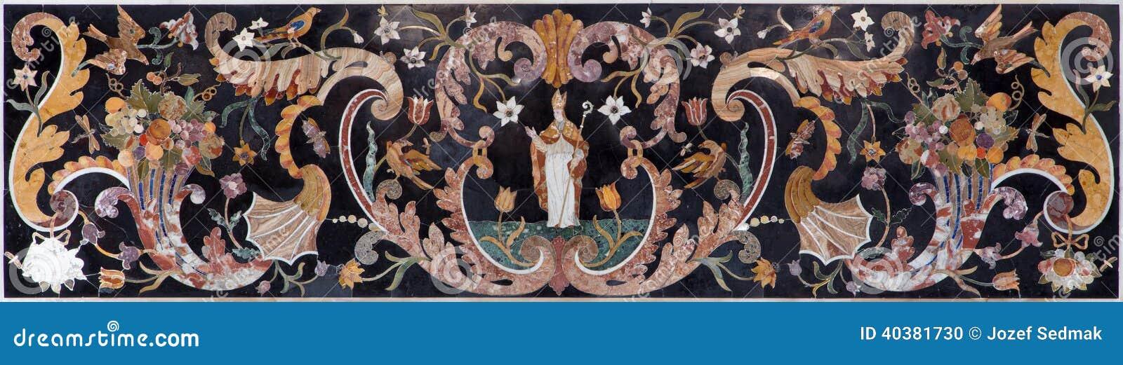 venedig steinmosaik vom seitenaltar in der kirche san. Black Bedroom Furniture Sets. Home Design Ideas