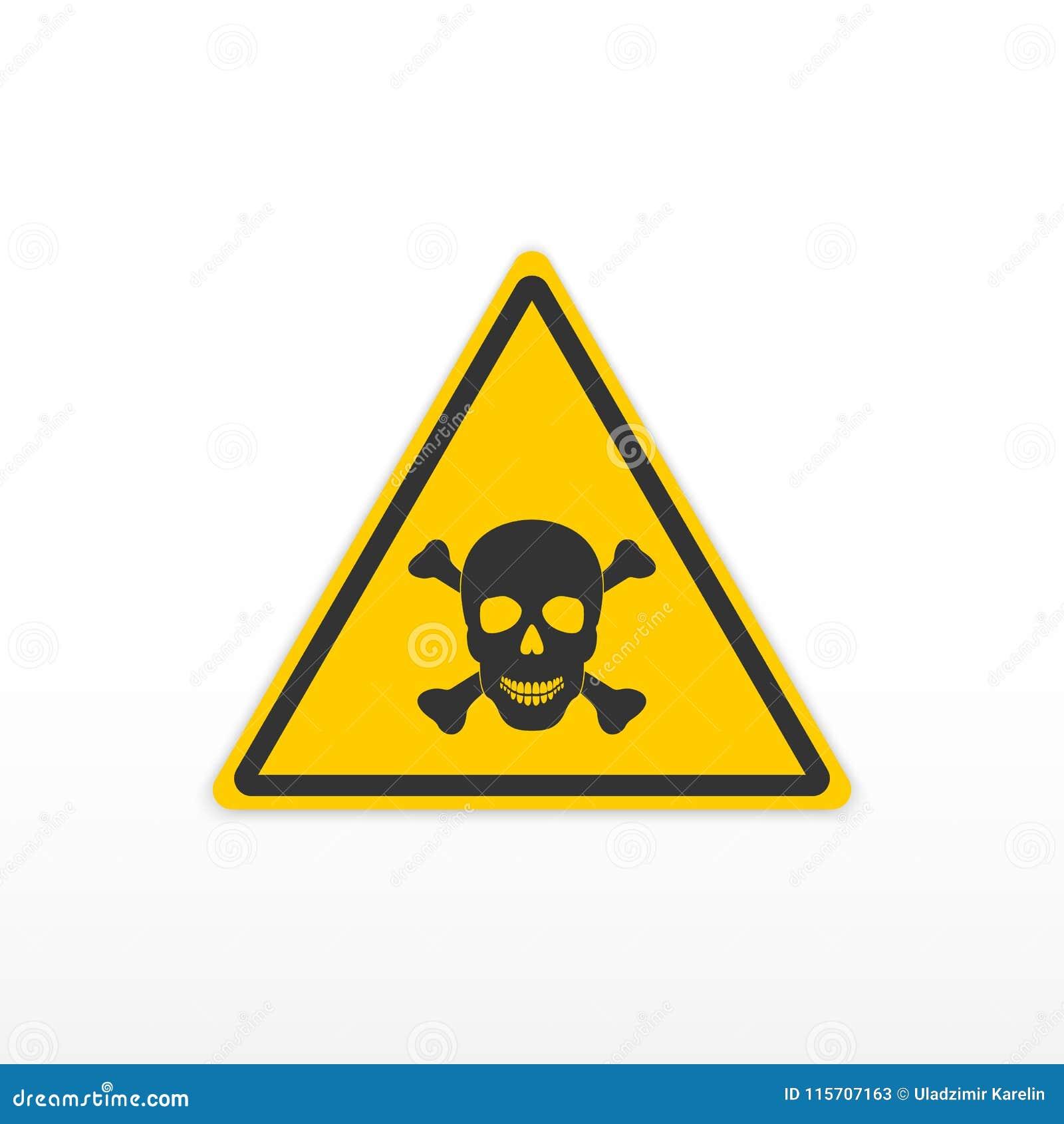 Veneno de la muestra Muestra tóxica del peligro Cráneo y huesos Icono en el fondo blanco