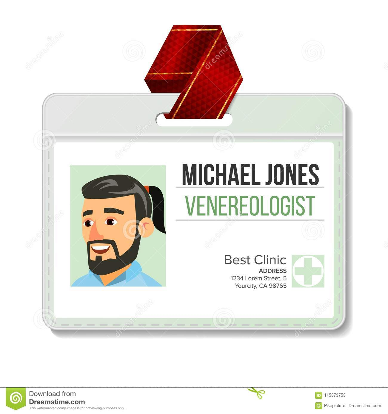 Venereologist Identification Badge Vector Man Id Card Template Clinic Hospital Specialist
