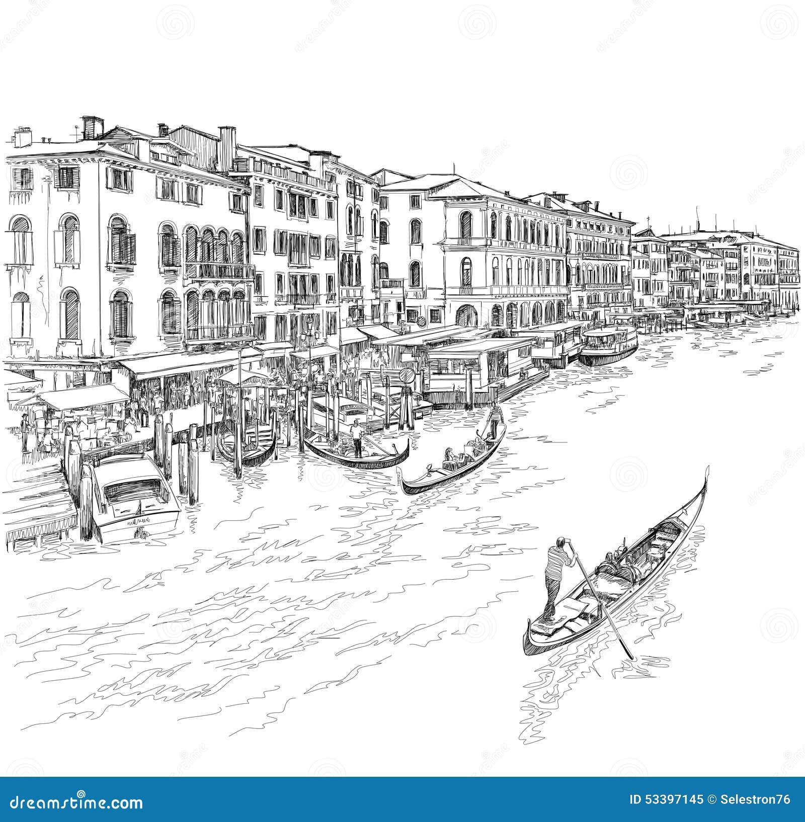 Venetië - groot kanaal De mening van de Rialto-Brug