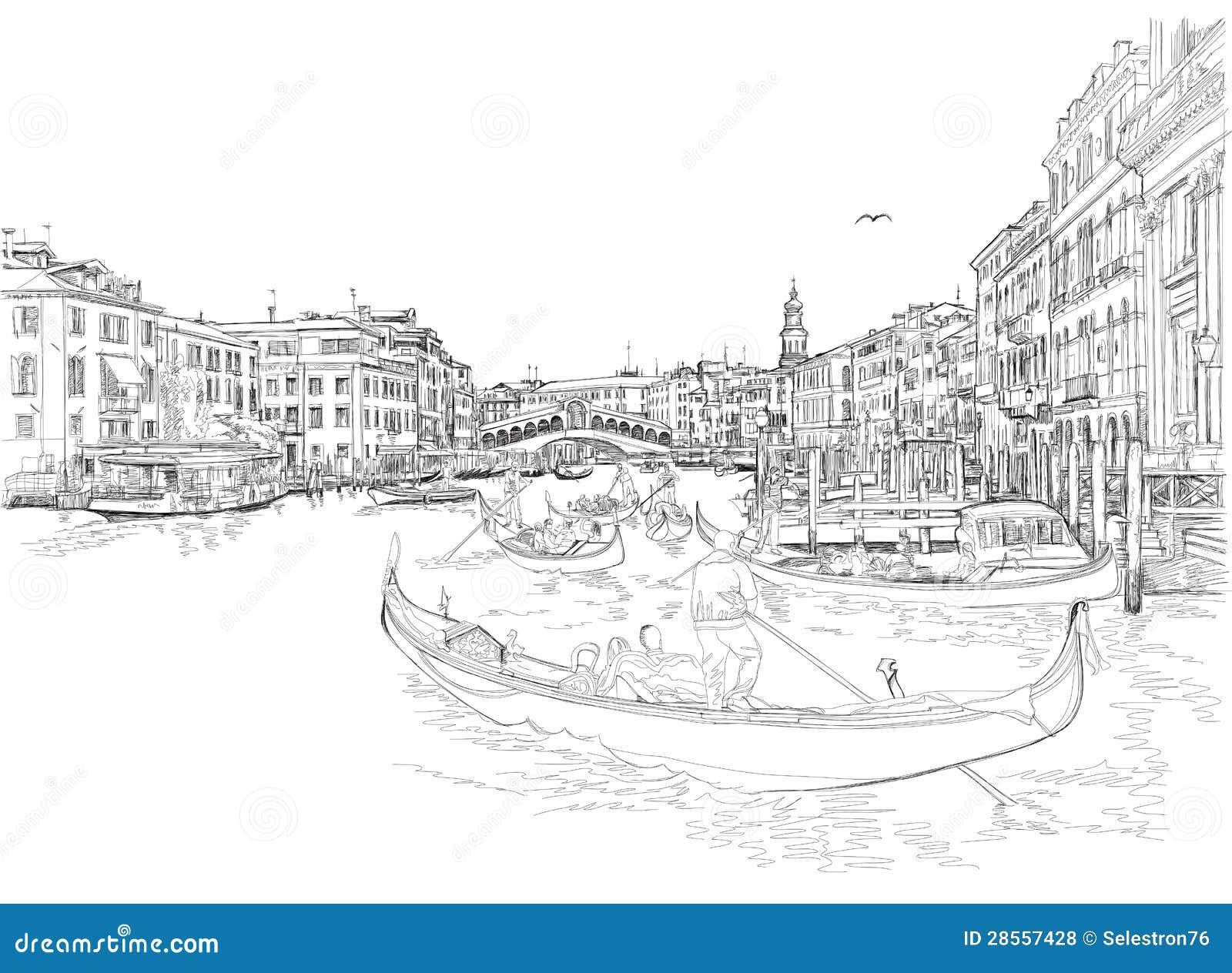 Venetië - Groot Kanaal. Mening van de Brug Rialto