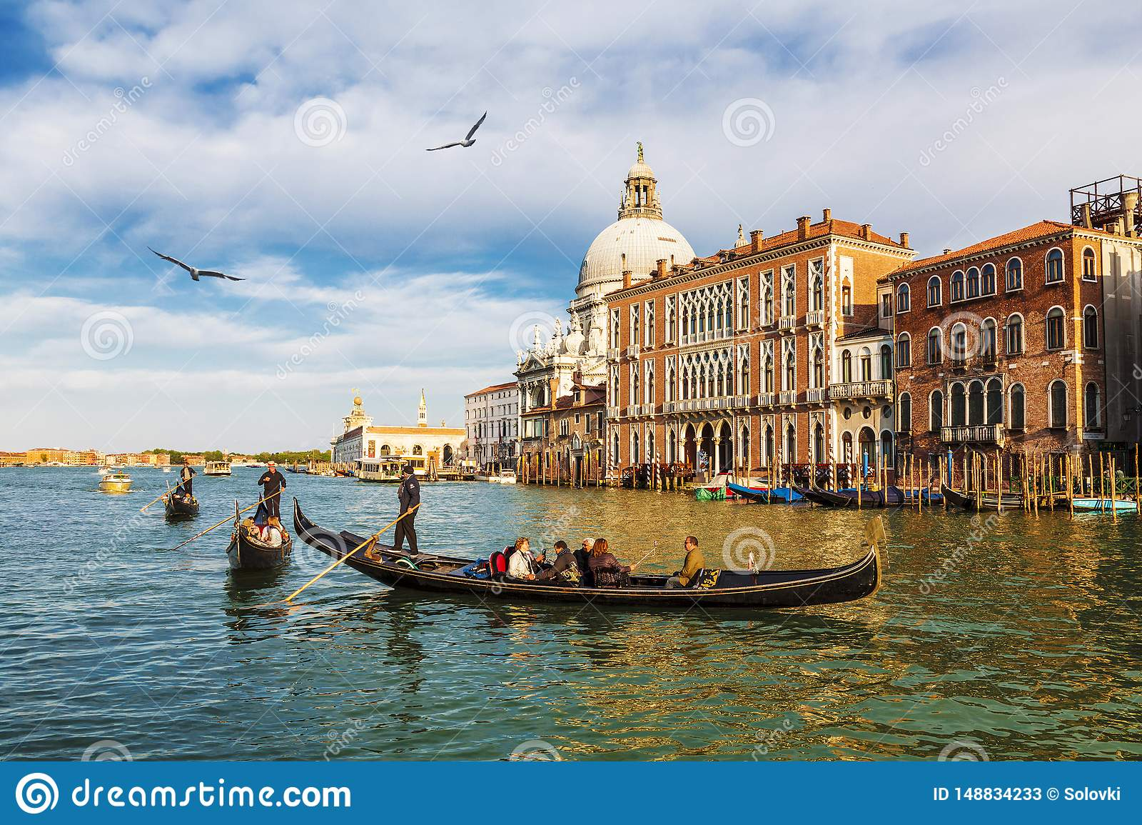 Veneti?, mening van het Grote kanaal en de kathedraal Santa Maria della Salute