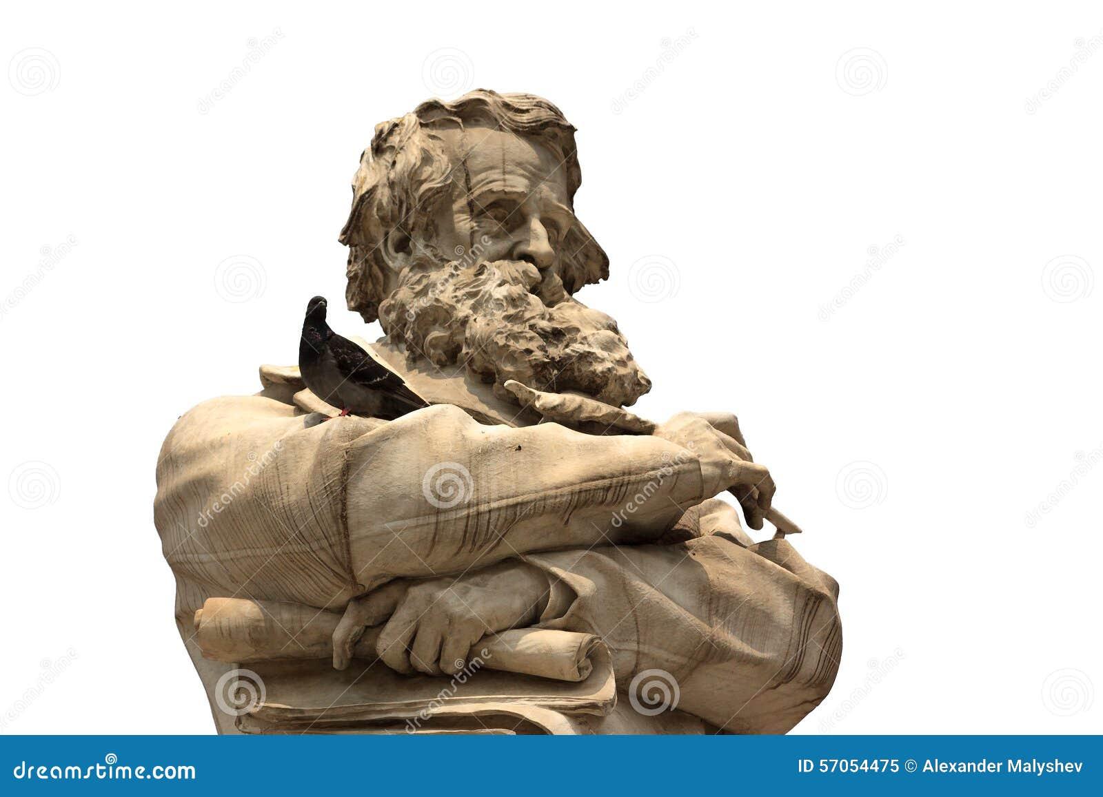 Venetiaans standbeeld met de close-up van het baardgezicht met duif op handenisola
