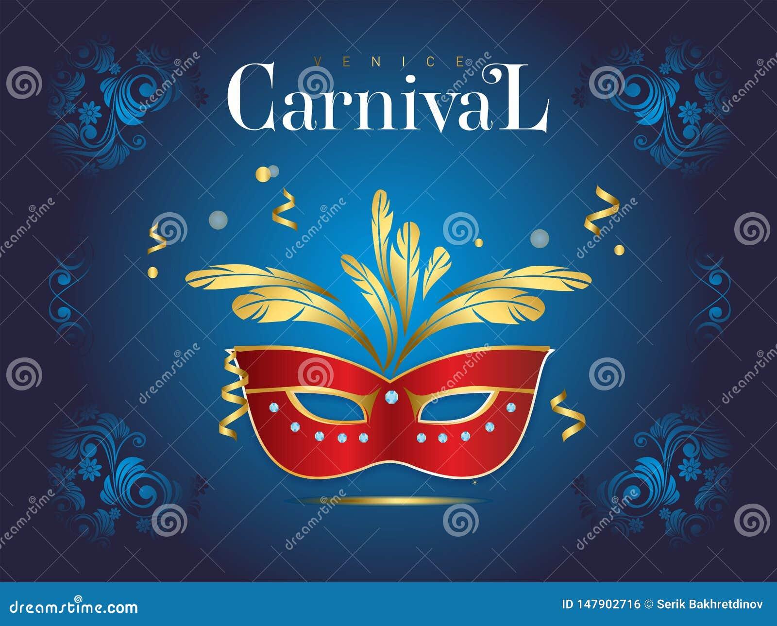 Venetiaanse Carnaval-banner met een luxueus masker en wimpels in vectorillustratie