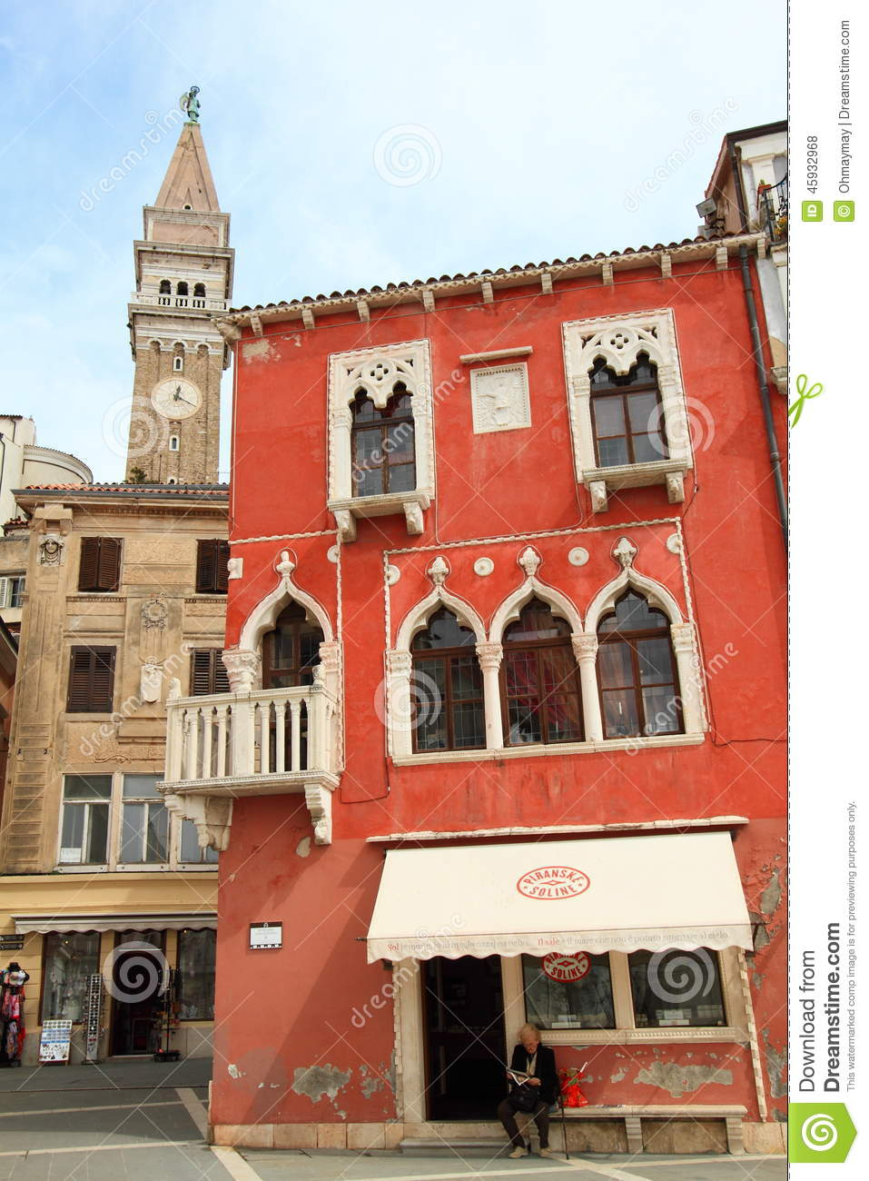 venetian architecture at piran old town editorial stock