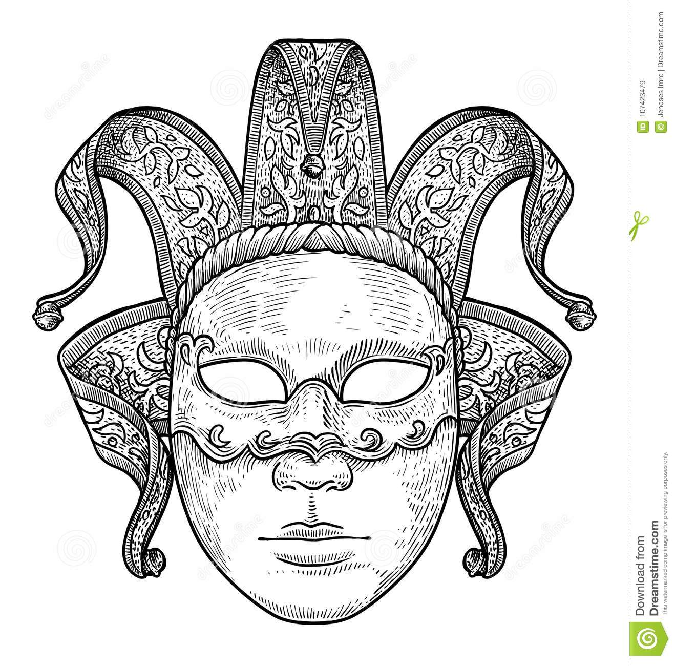 Venetian Mask Illustration Drawing Engraving Ink Line Art
