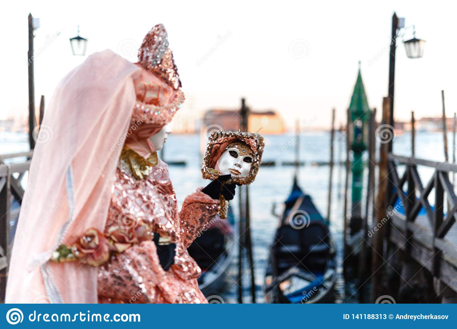 Venetian Masked Model From The Venice Carnival 2019 With