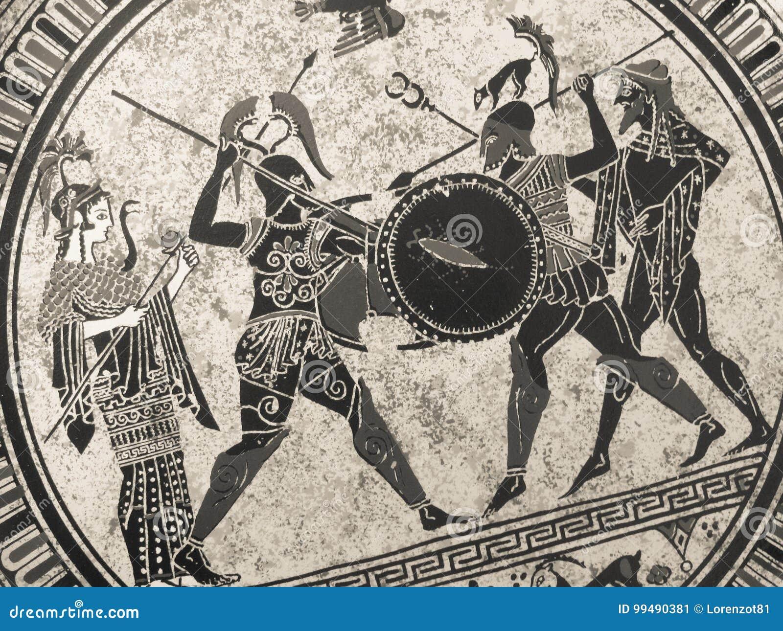VENEZA, ITÁLIA - 2 DE JULHO DE 2017: Detalhe de uma pintura grega histórica velha sobre um prato Heróis míticos e deuses que luta