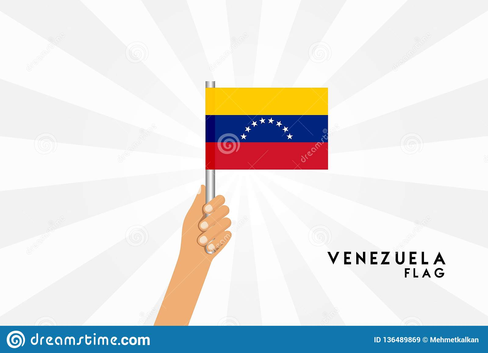 Vector cartoon illustration of human hands hold Venezuela flag
