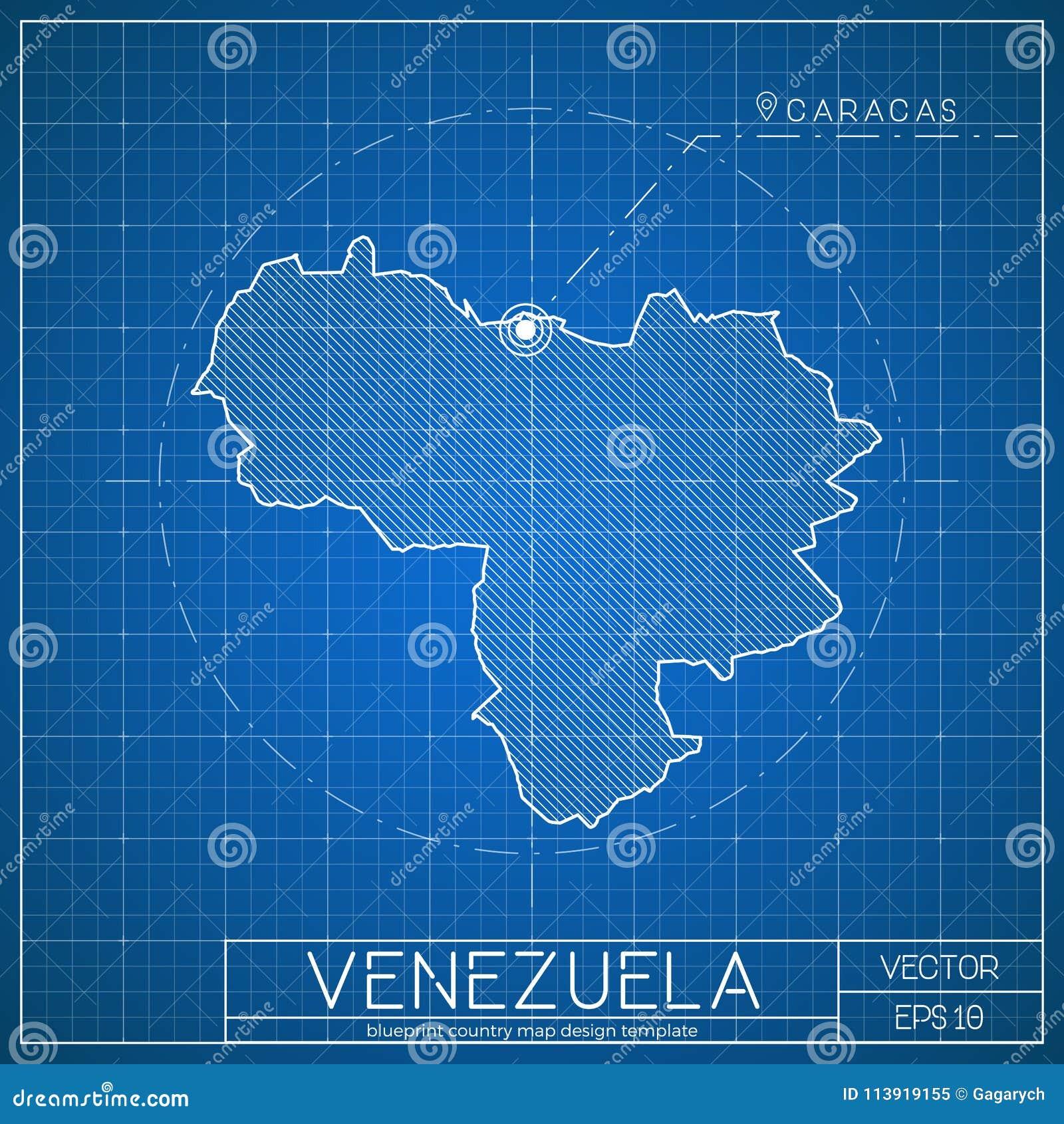 venezuela blueprint map template with capital stock vector