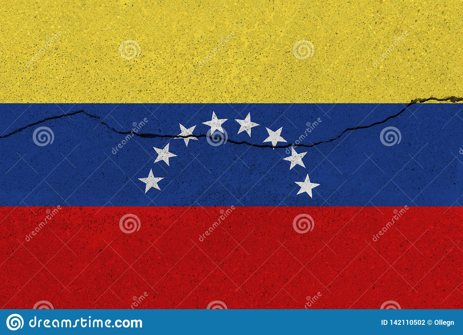 Venezuela flag on concrete wall with crack