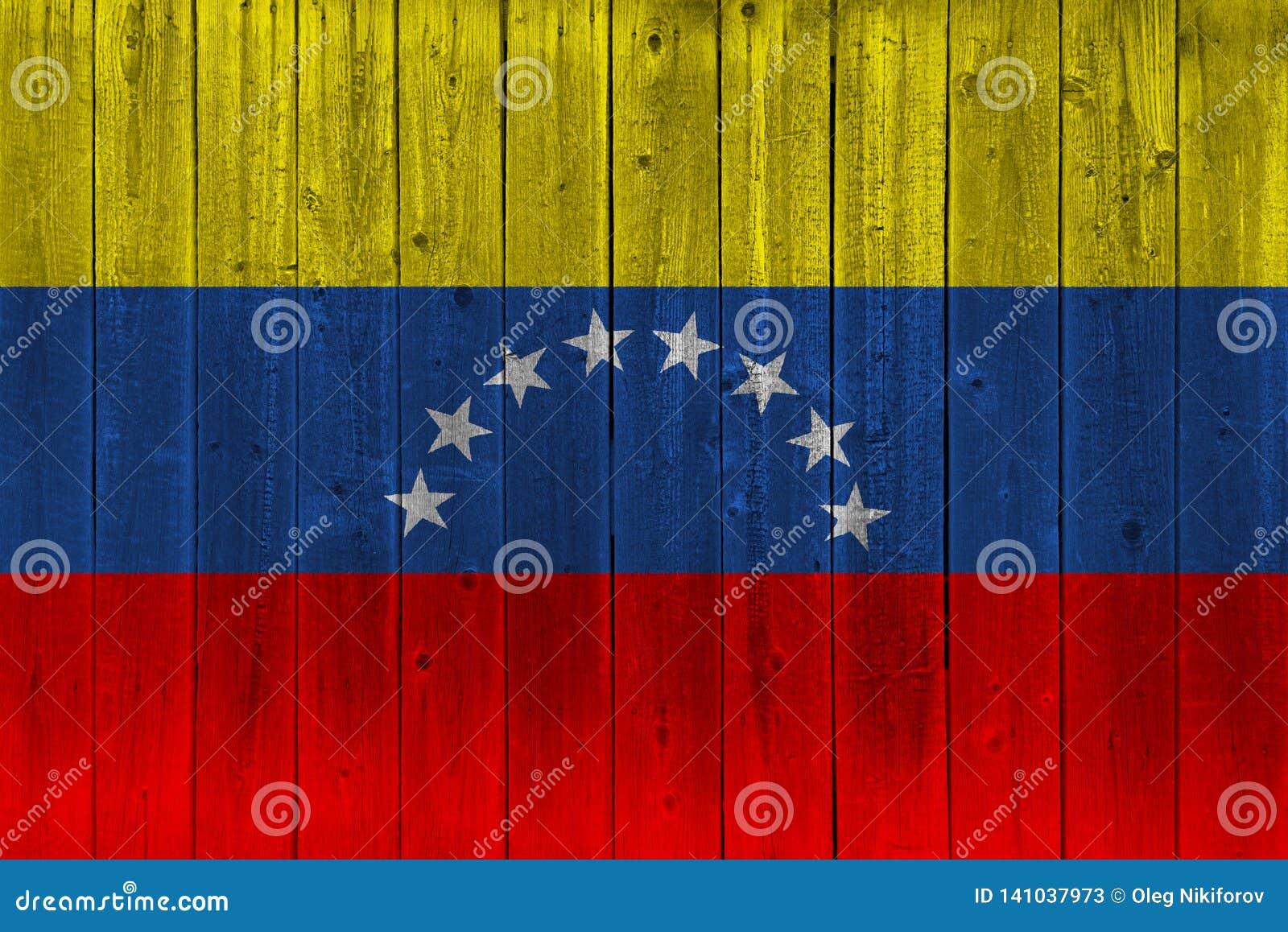 Venezuela flag painted on old wood plank