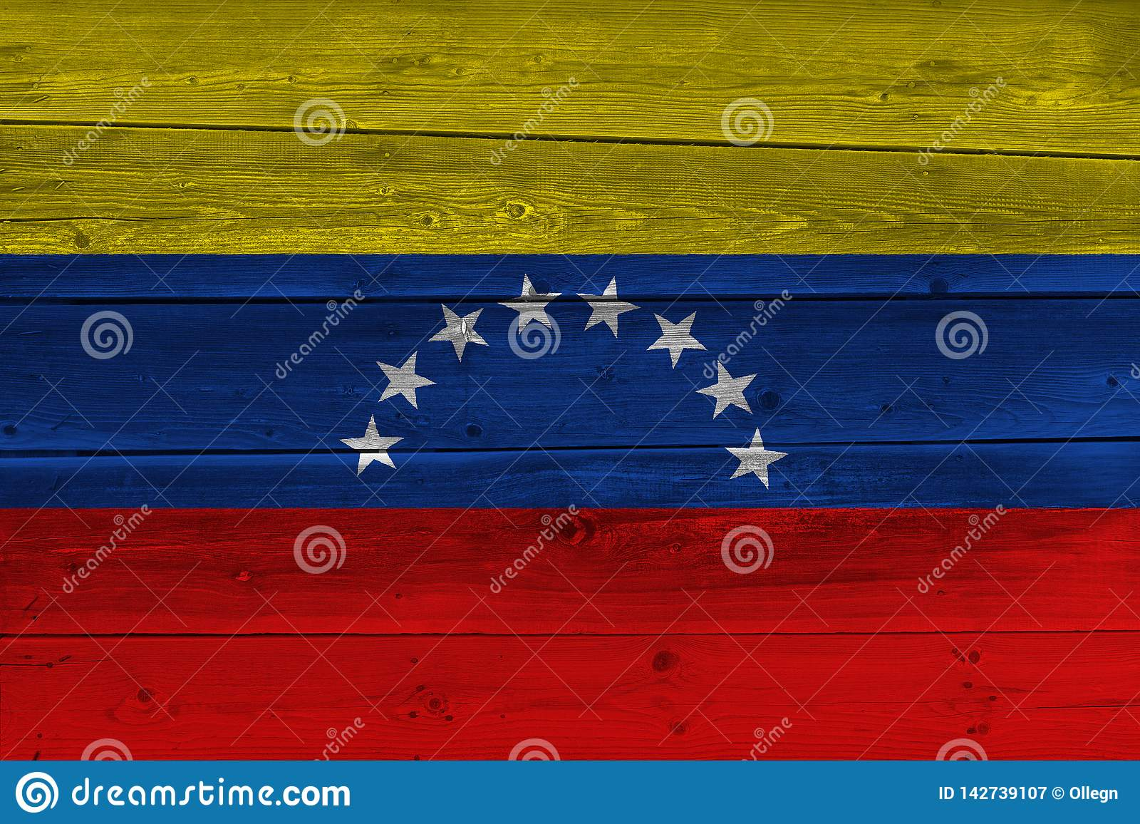 Venezuela flag painted on old wood plank