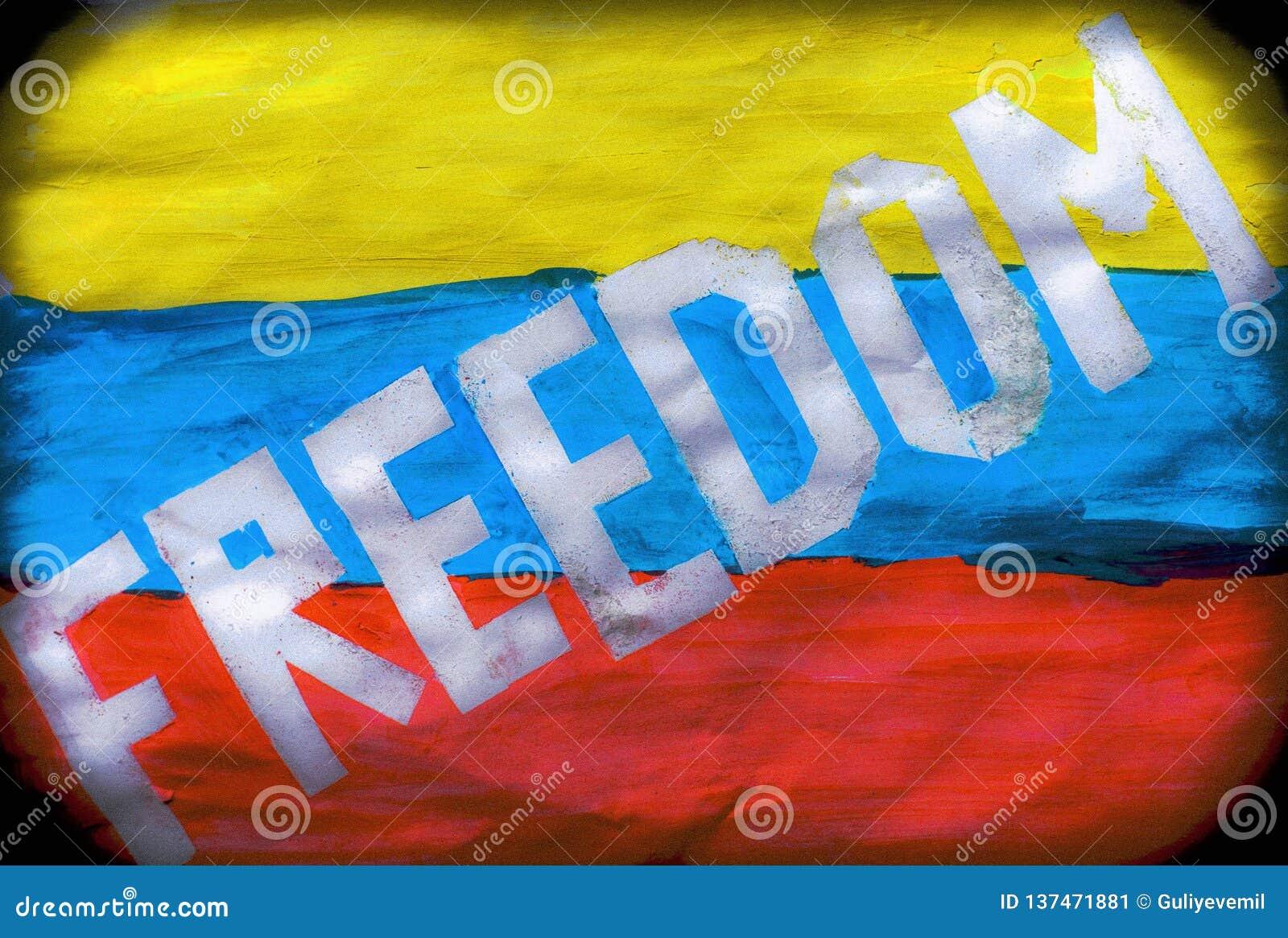 Venezuela January 2019 protests. flag freedom slogan. Juan Guaidó opposition leader