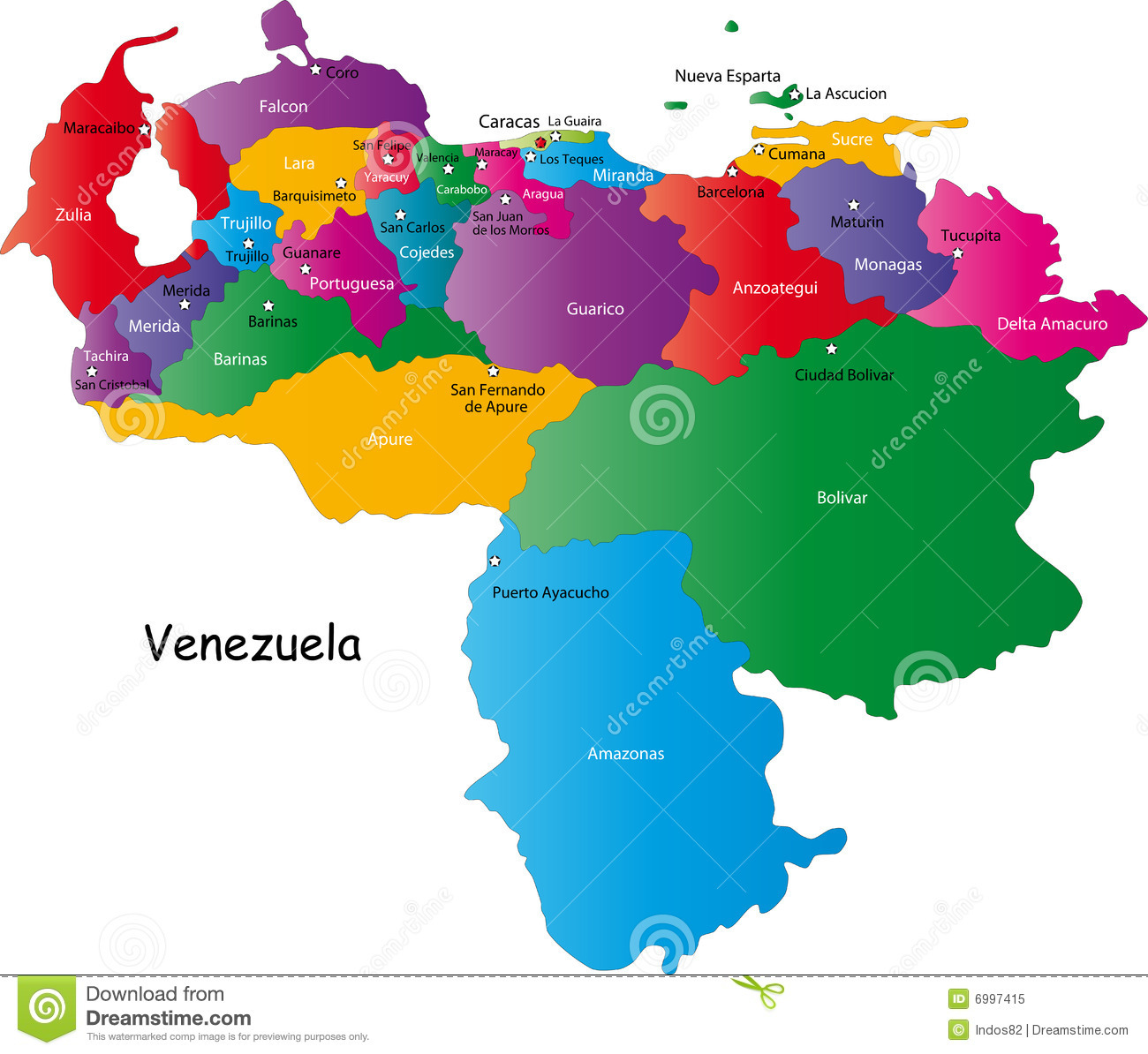 Venezuela map designed in illustration with regions colored in bright