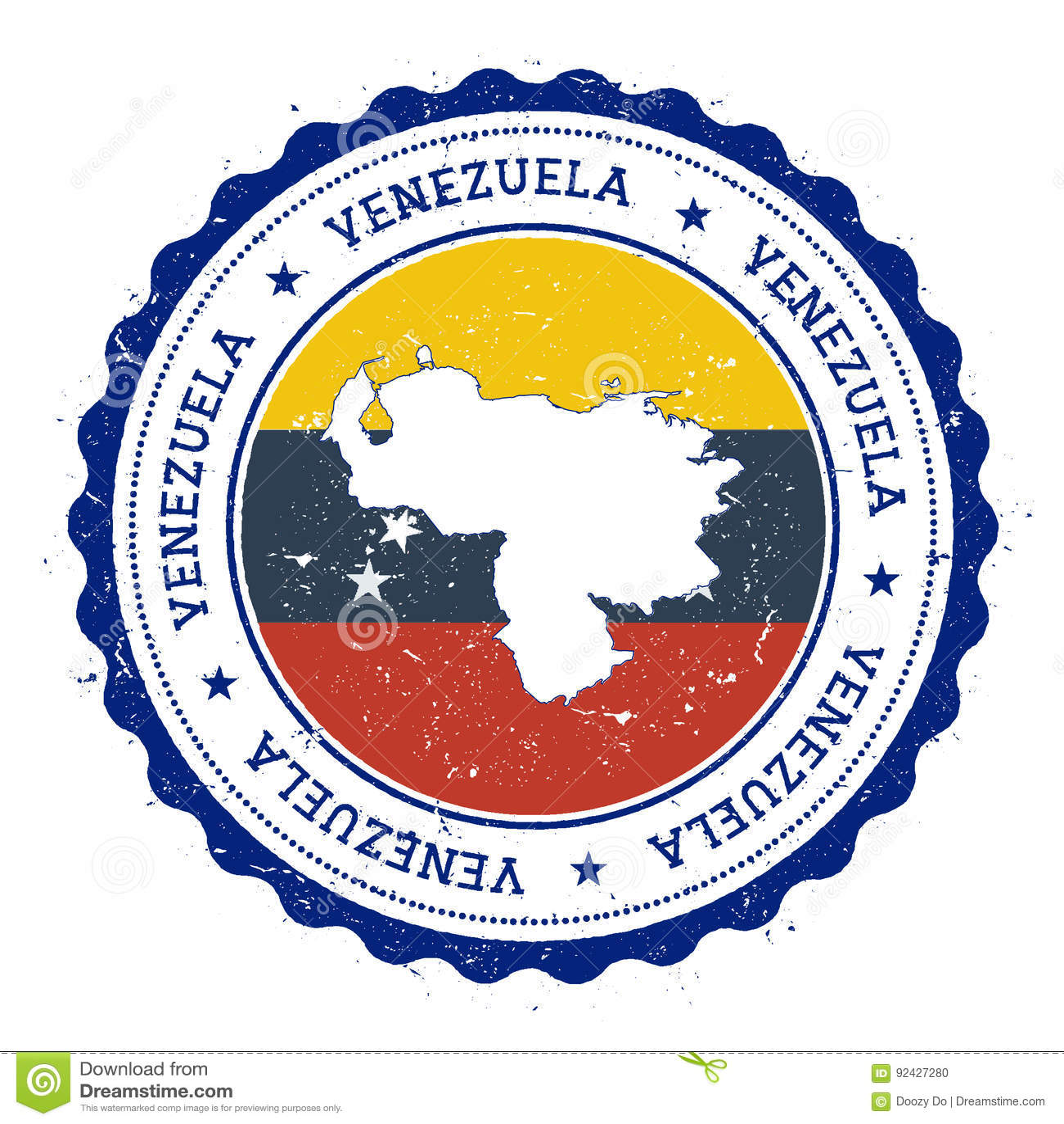 Venezuela, república de Bolivarian del mapa y de la bandera adentro