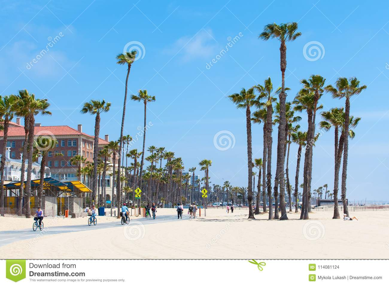 VENICE BEACH, UNITED STATES - MAY 14, 2016: People enjoying a sunny day on the beach of Venice, Los Angeles, California, USA