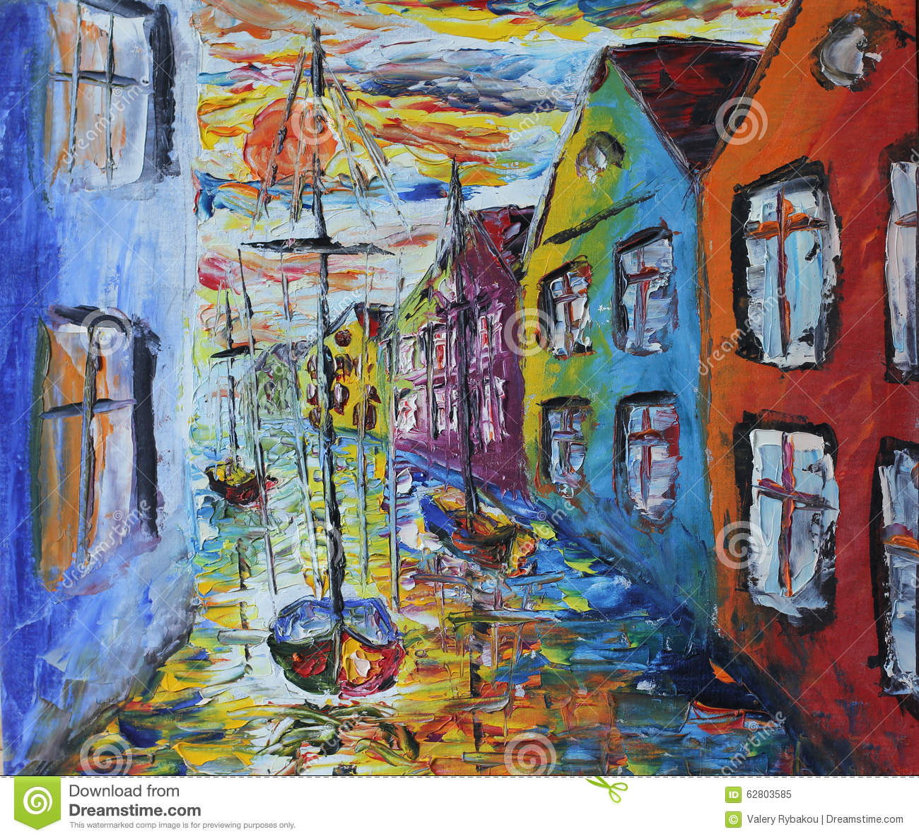 Venice boat floating in the streets oil painting stock for Peinture mural original