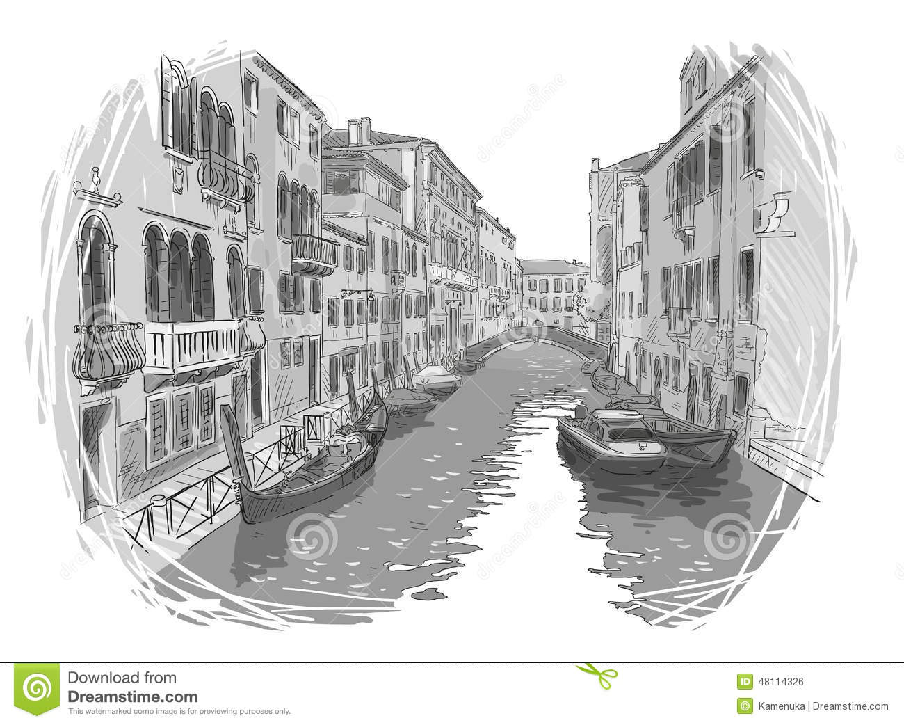 Venice Canal Vector Sketch Stock Vector Image Of House