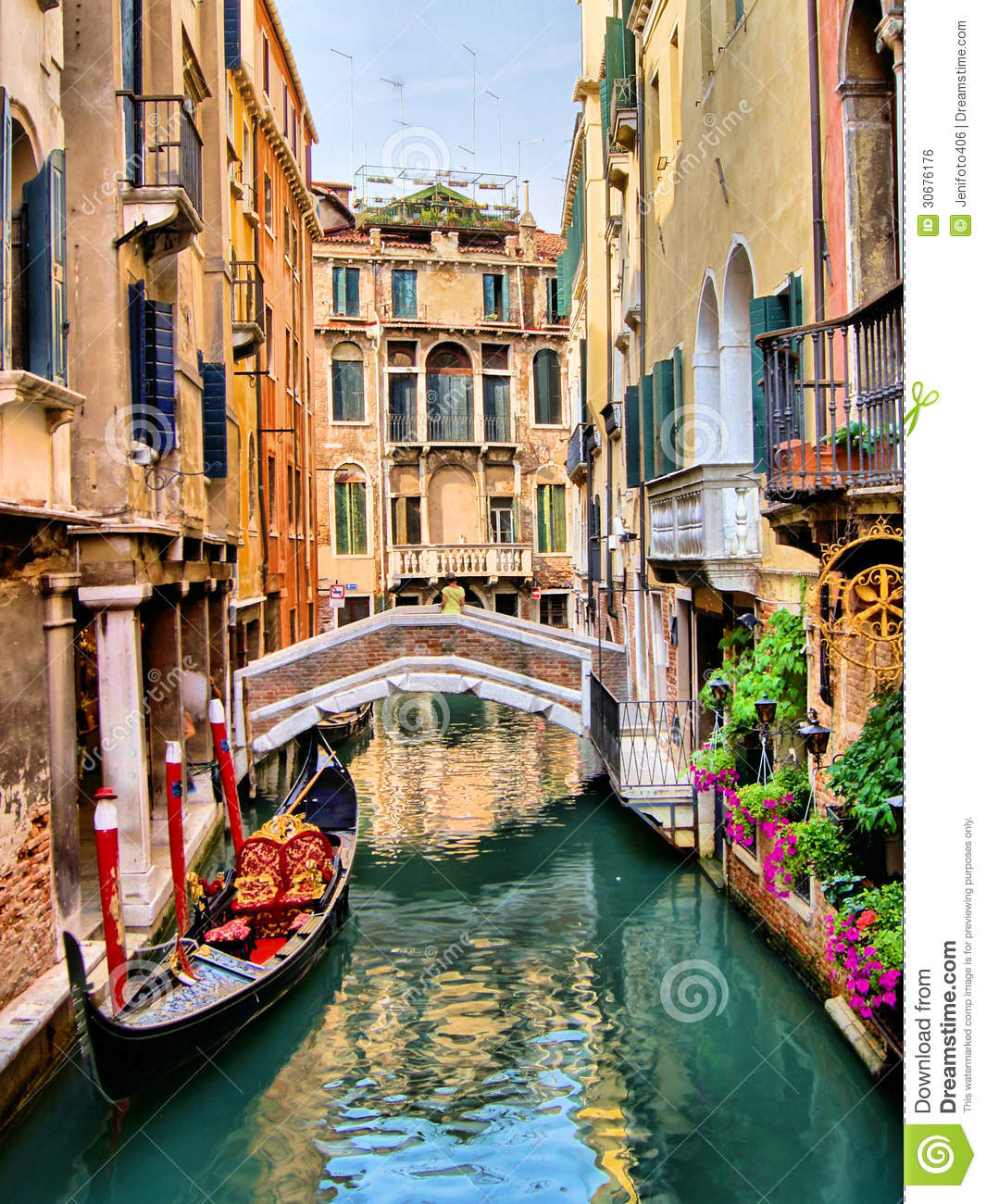 Venice canals stock photo. Image of boat, flowers, antique - 30676176