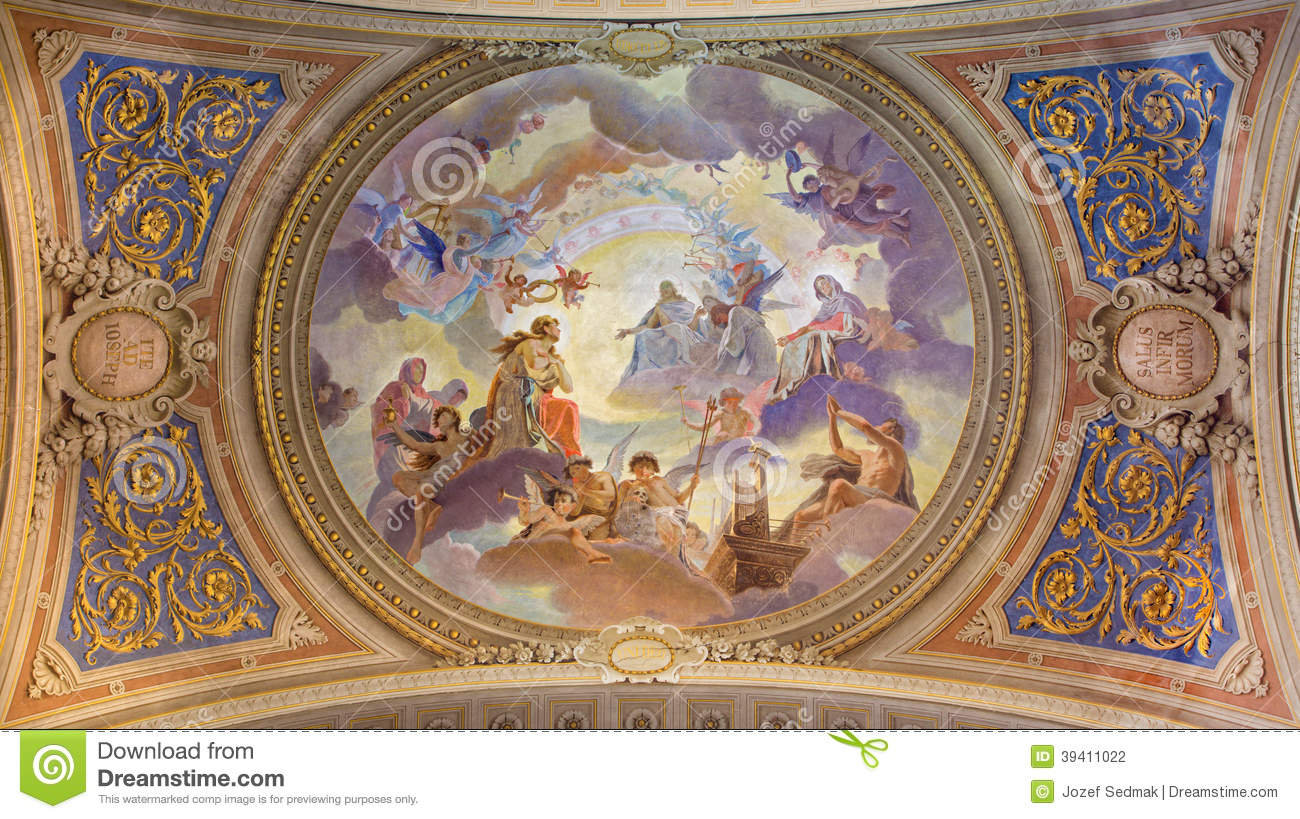 Ceiling frescoes baroque energywarden venice ceiling red fresco in baroque church saint mary dailygadgetfo Gallery