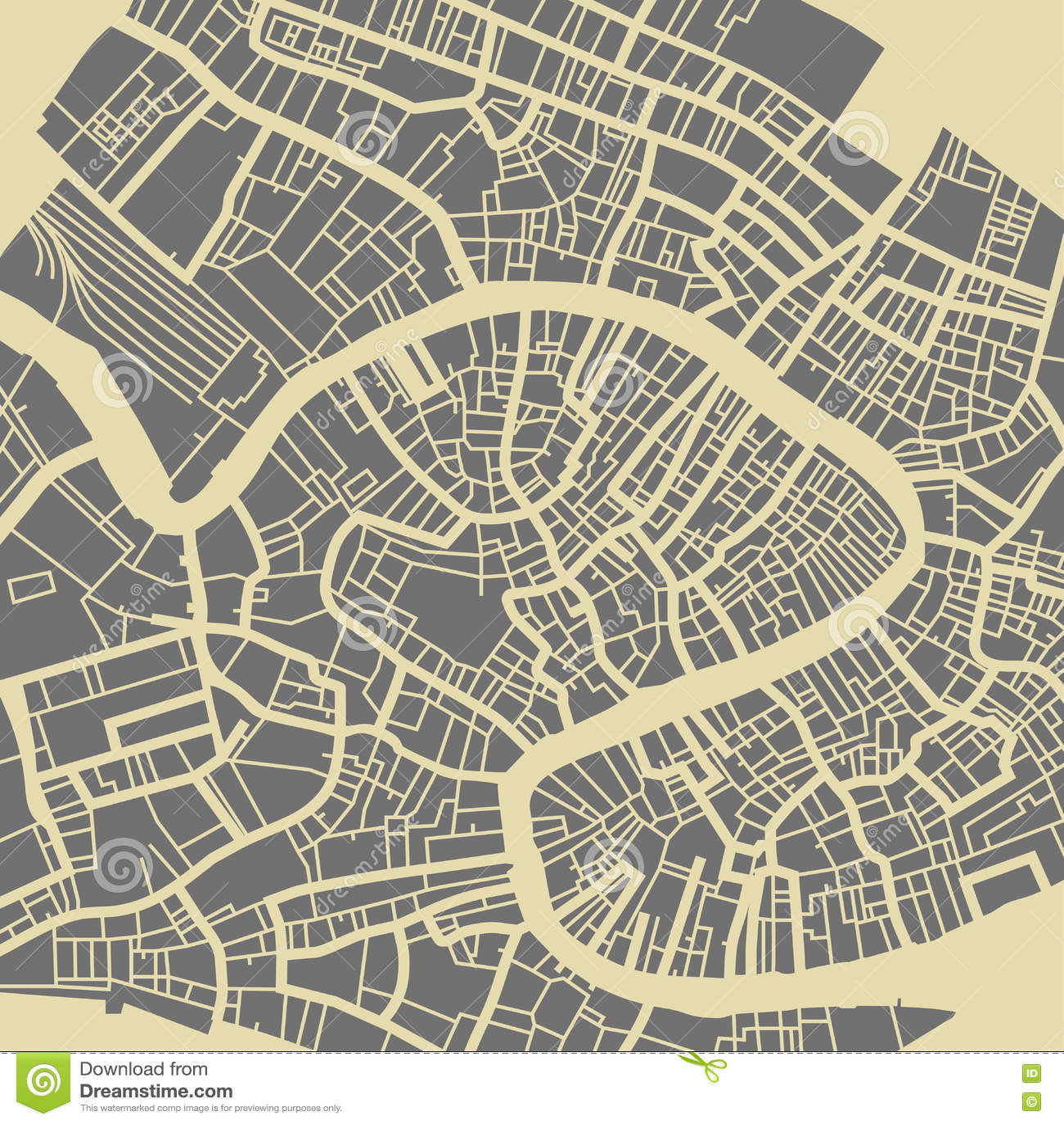 Venice City Plan Stock Vector Image - Venice city map