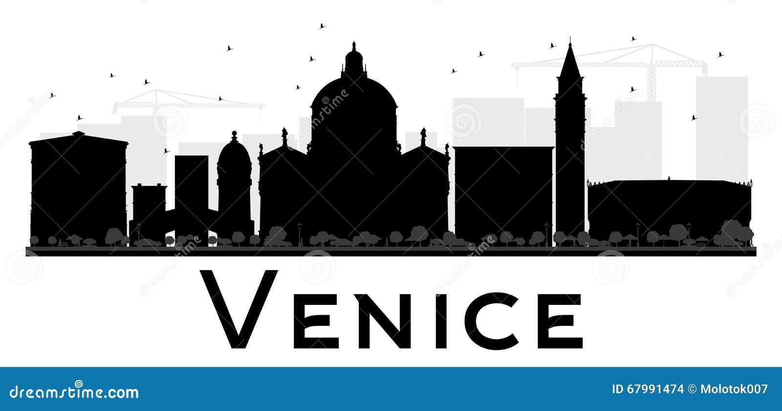 Venice city skyline black and white silhouette stock for Illustration minimaliste